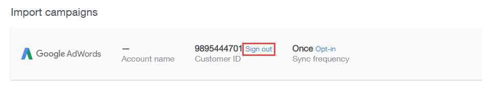 sign out option