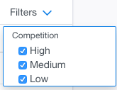 keyword planner filters menu