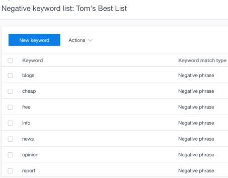 negative keyword tom best list