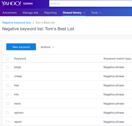 negative keyword tom best list