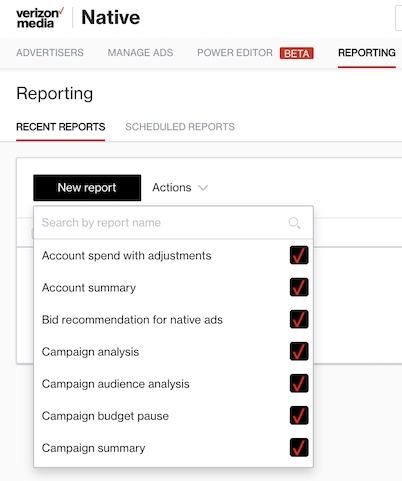 reporting dashboard menu