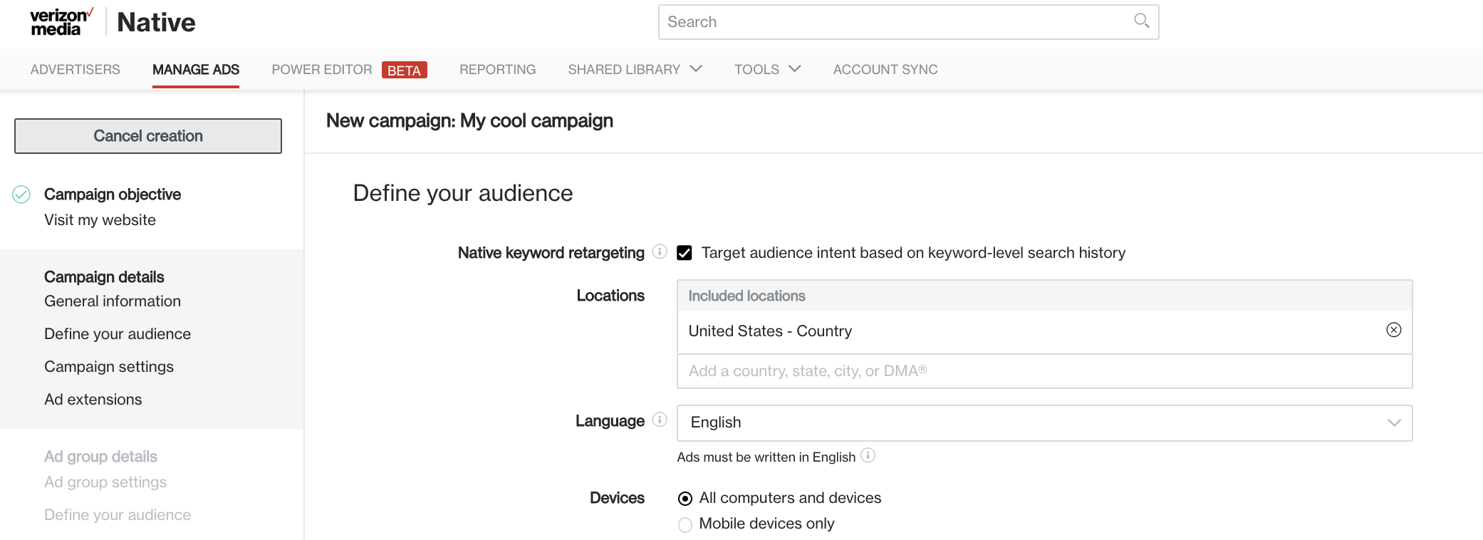 native keyword retargeting user interface