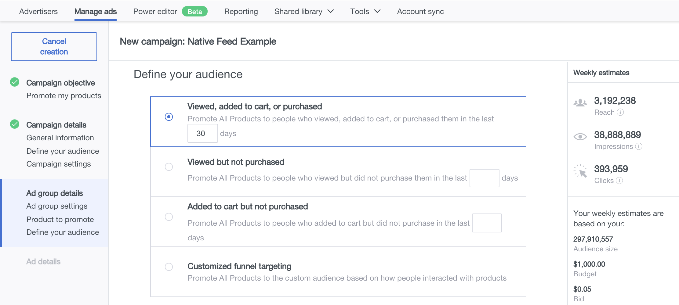 define audience dynamic product ads