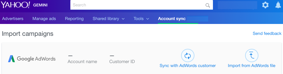 account sync menu