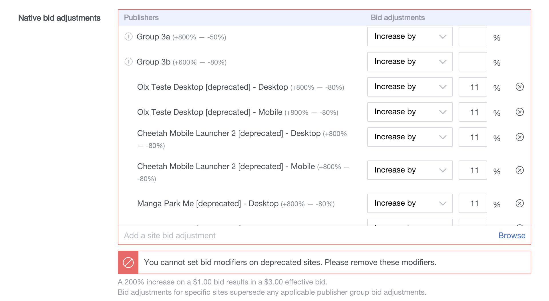 bid modifiers deprecated sites