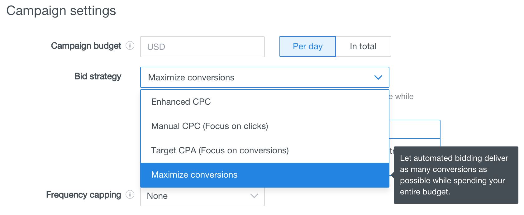 bid strategy max conversions