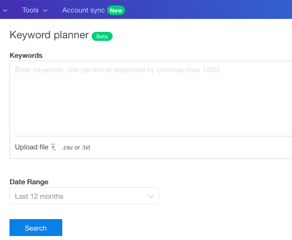 keyword planner beta