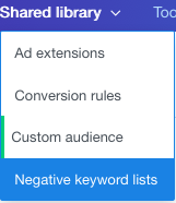 negative keyword lists menu item