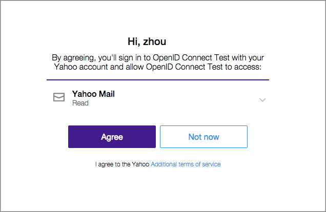 Screenshot of the Yahoo Consent Screen
