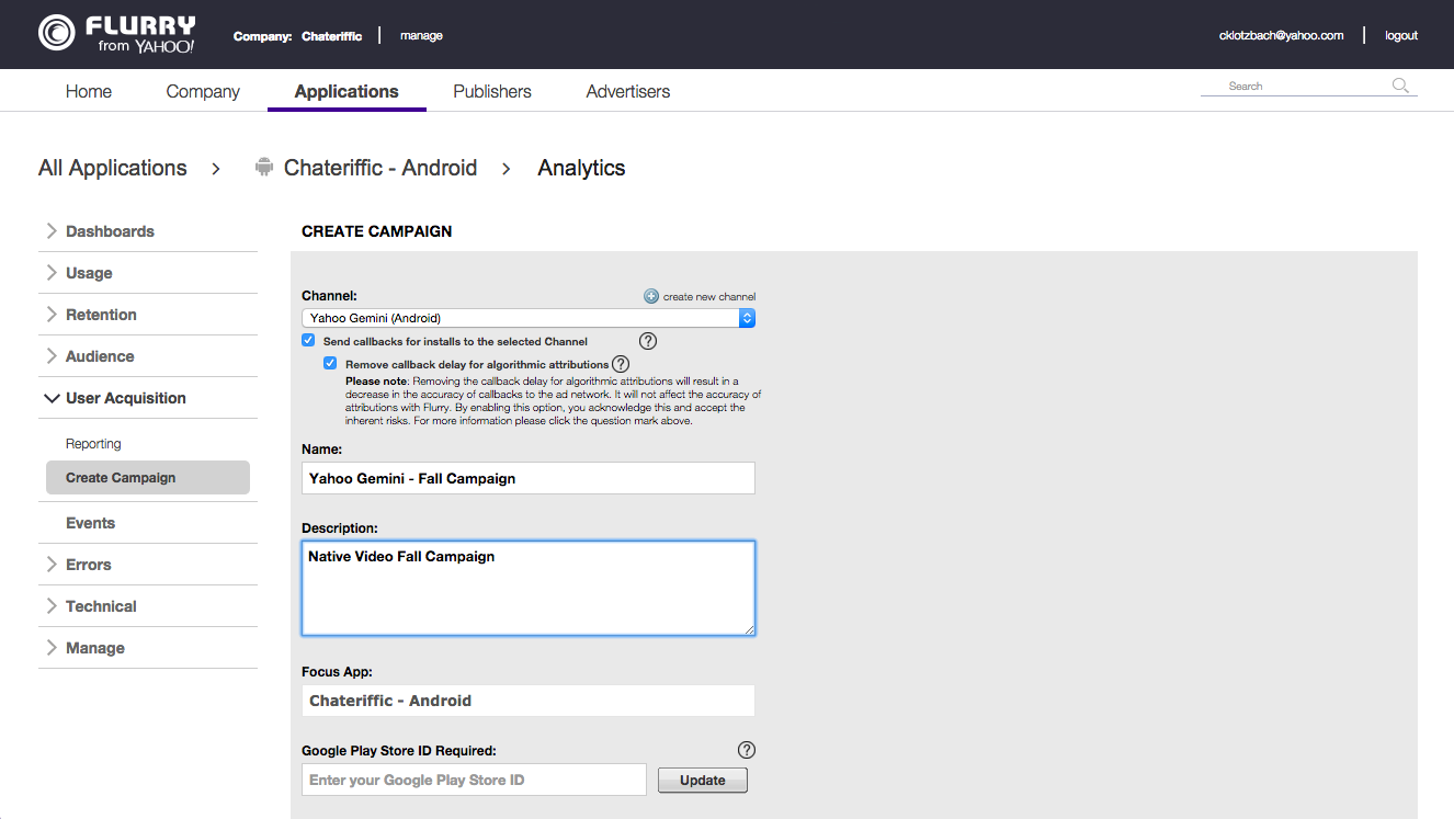Flurry Analytics Screenshot