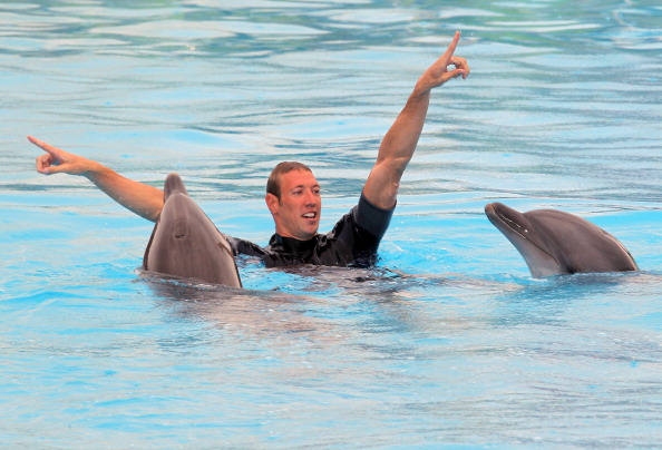 French swimmer Alain Bernard gestures as