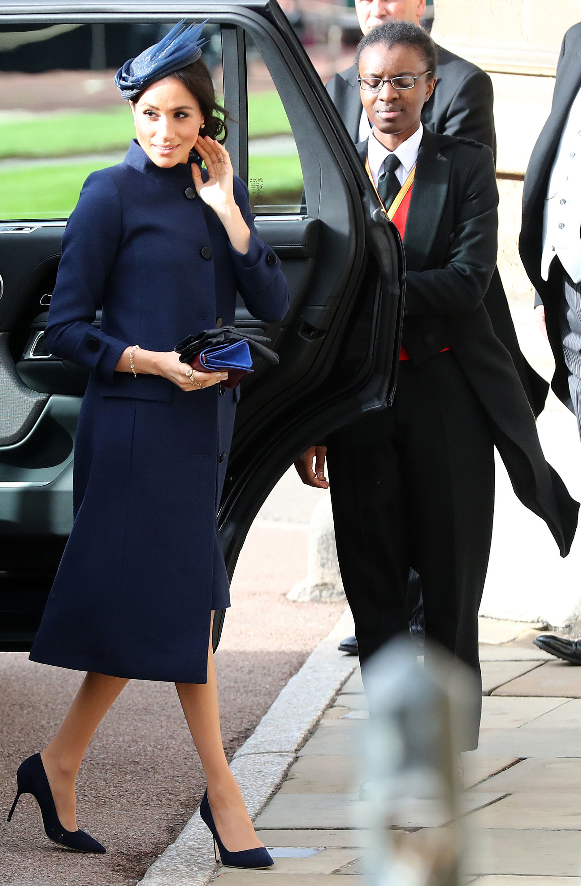 Meghan arrives to attend the wedding of Princess Eugenie of York to Jack Brooksbank at St George's Chapel,...