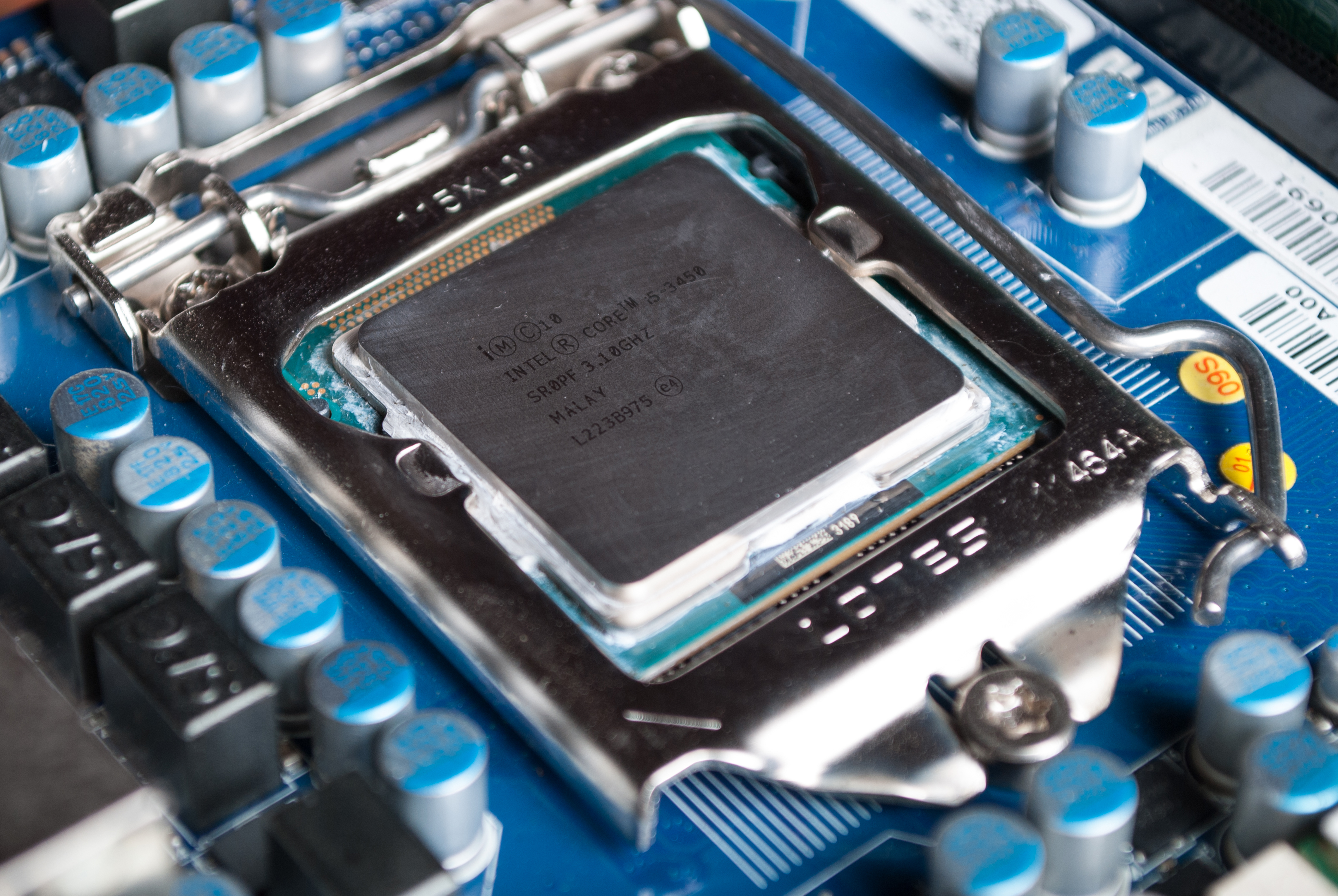 CPU Intel i5 on computer motherboard in socket