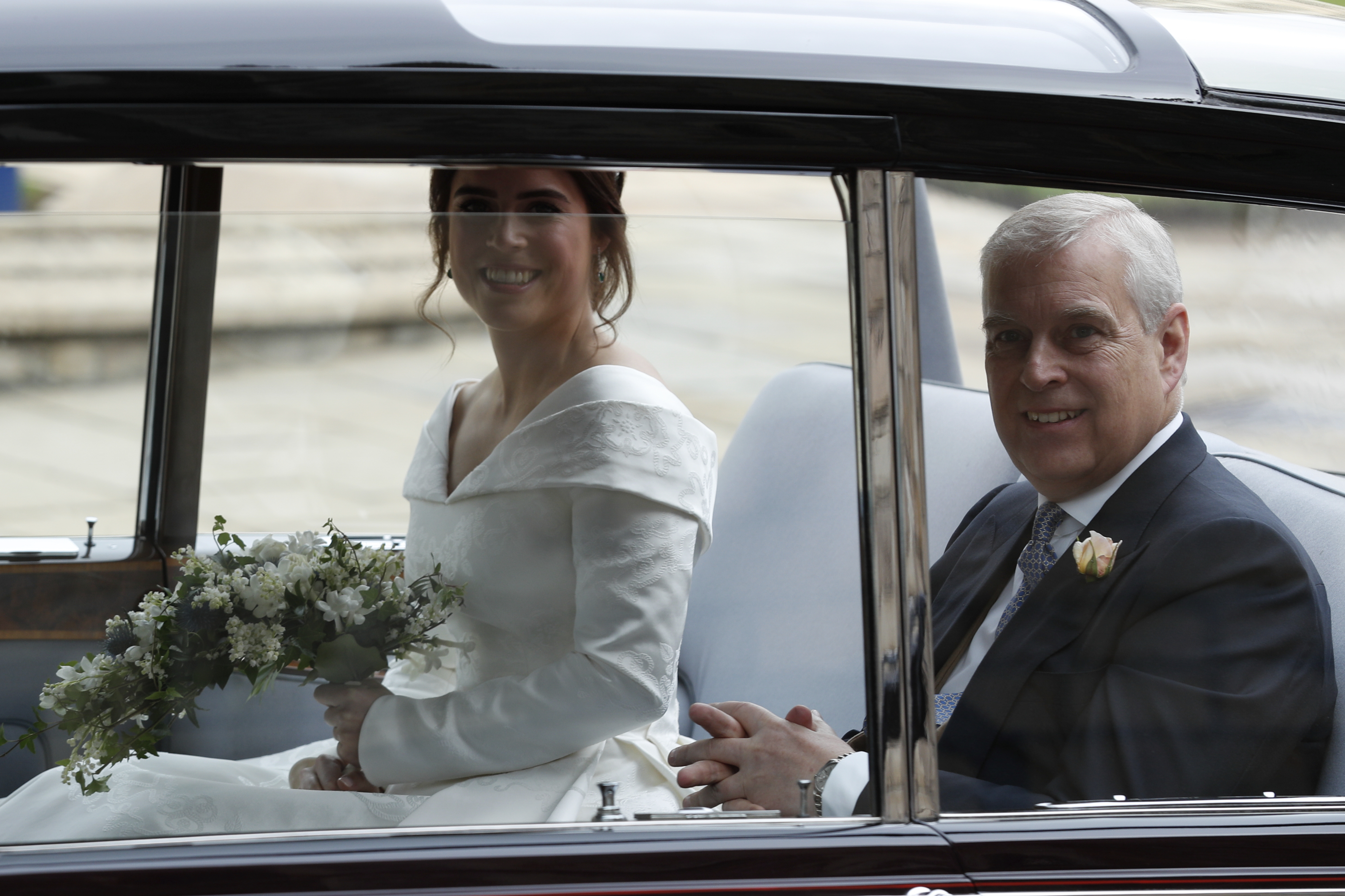 Today's the big day! Princess Eugenie, accompanied by her father Prince Andrew arrives for her wedding...