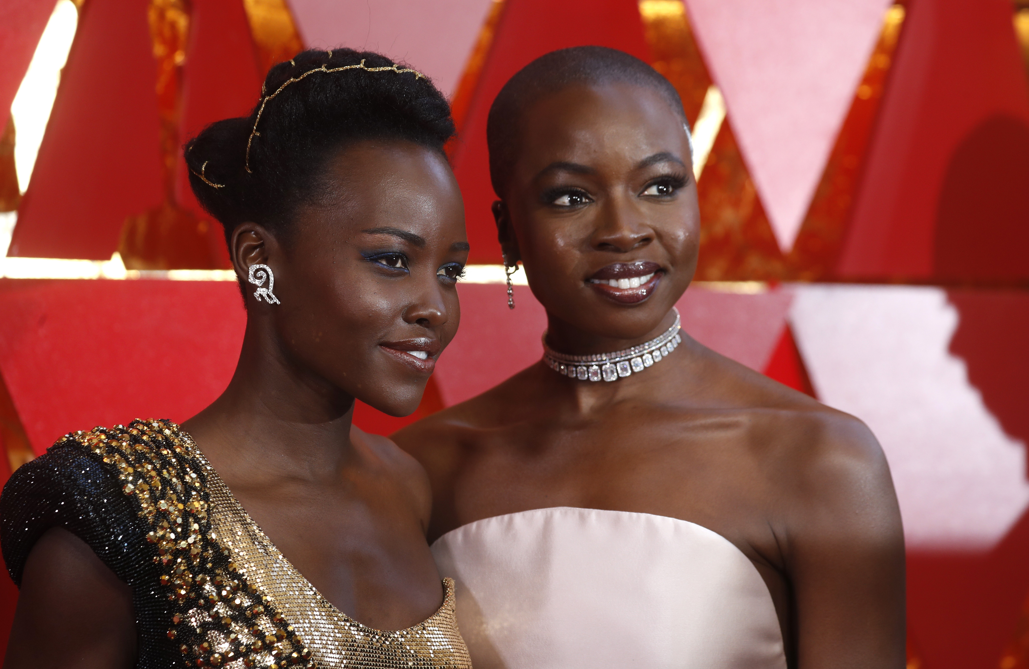 Lupita Nyongo poses with her Black Panther co-star and Danai Gurira at the 90th Academy Awards on March...