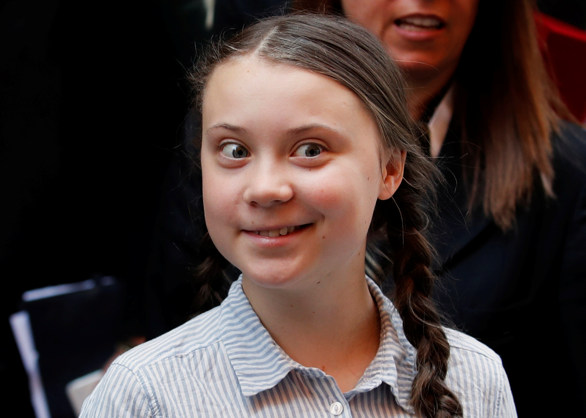 """""""Fridays for Future"""" activist Greta Thunberg leaves after speaking at the Senate in Rome, Italy April 18, 2019. REUTERS/Remo Casilli"""