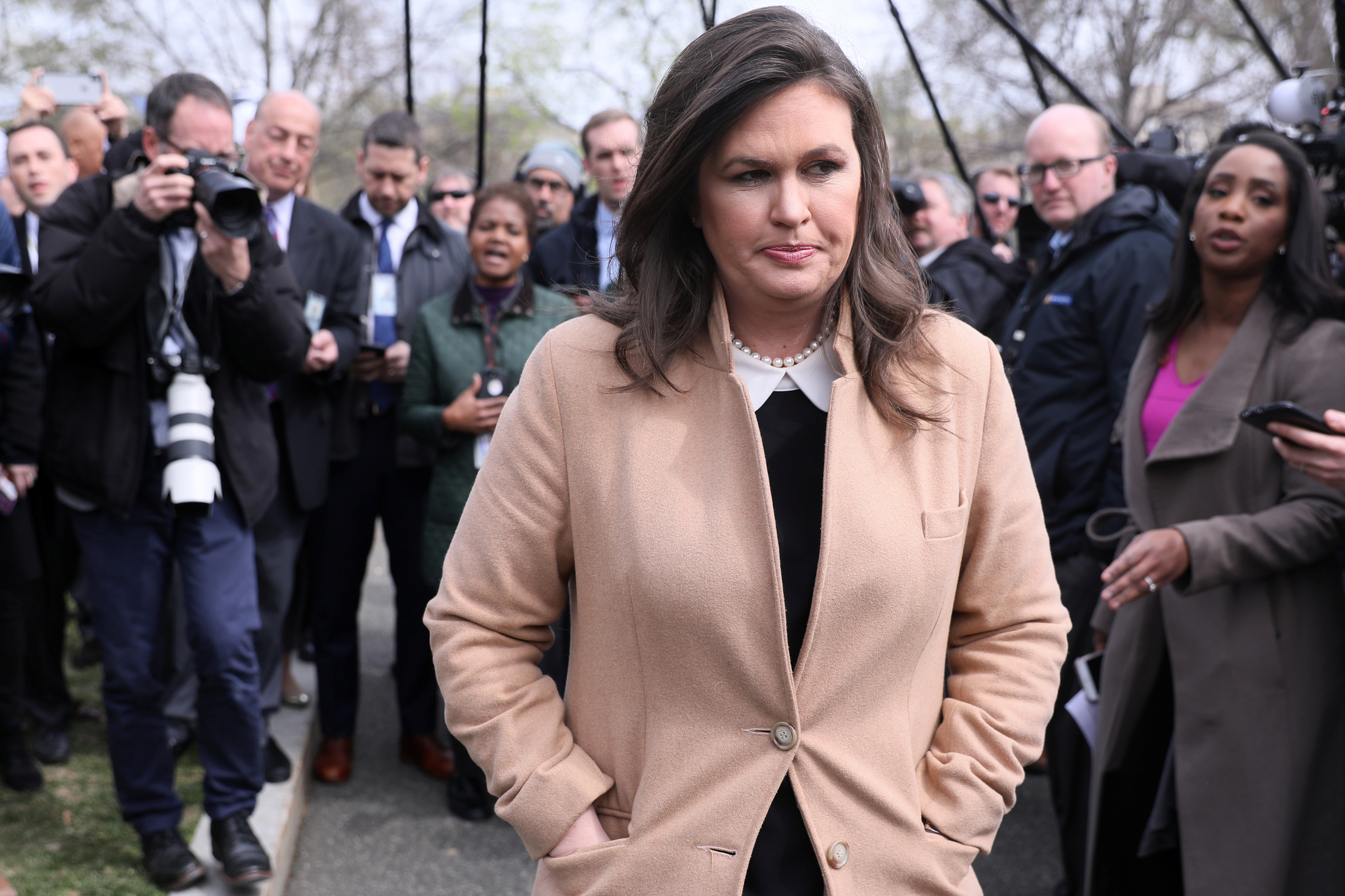 White House Press Secretary Sarah Huckabee Sanders departs after speaking to reporters at the White House in Washington, U.S. April 2, 2019.  REUTERS/Jonathan Ernst