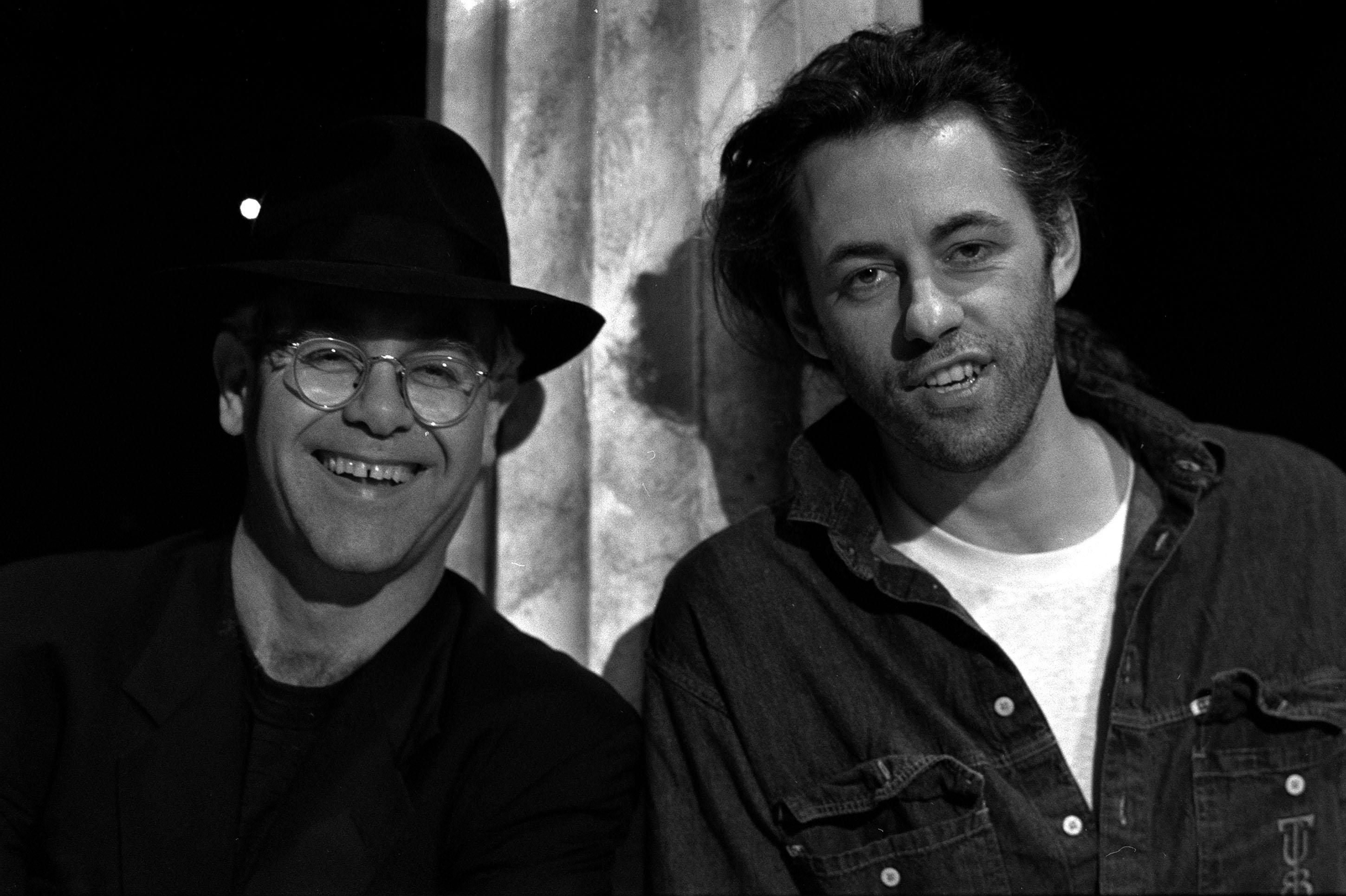 1989: Pop star Elton John (left) and Bob Geldof at a BBC photocall in London . Elton is one of the singers who will be seen taking part in 'Our Common Future', an hour long programme of recorded musical highlights of the Planet-Aid global concert staged in New York. Geldof will be introducing the concert.  CELEBRITY