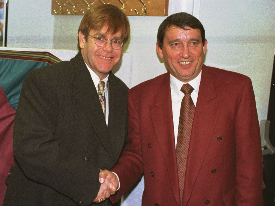 Watford President Elton John greets Graham Taylor at Vicarage Road today (Thursday) as he arrives to take up his new job as General Manager/PA. Elton John is back at the helm of division two Watford after heading a consortium of investors to take over at Vicarage Road from Jack Petchey, it was announced on 26.4.97.  The multi-millionaire will  now chair both the new board and a holding company which now owns the club.  The former England manager Graham Taylor, who has been influential in bringing John back to Vicarage Road, will also remain a pivotal figure at the club as general manager.