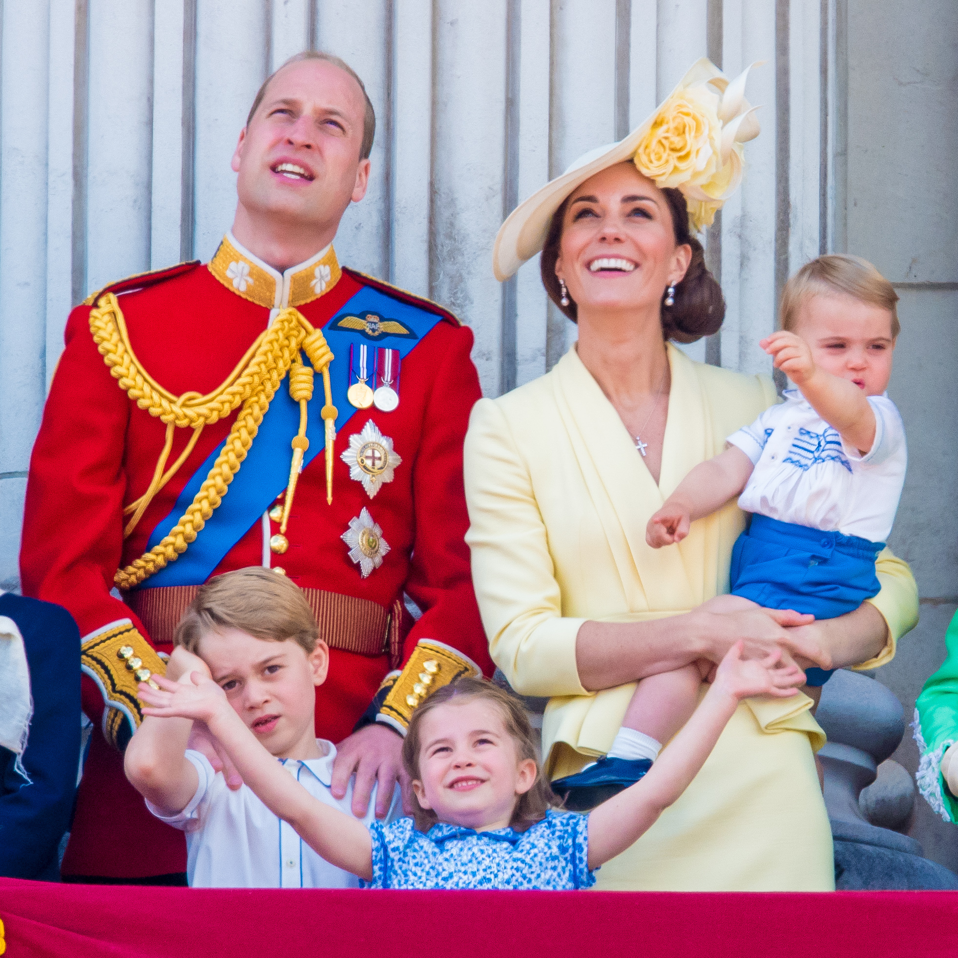 Prince William, Catherine Duchess of Cambridge, Prince George, Princess Charlotte and Prince Louis during Trooping the Colour ceremony, marking the monarch's official birthday, in London. (Photo by DPPA/Sipa USA)