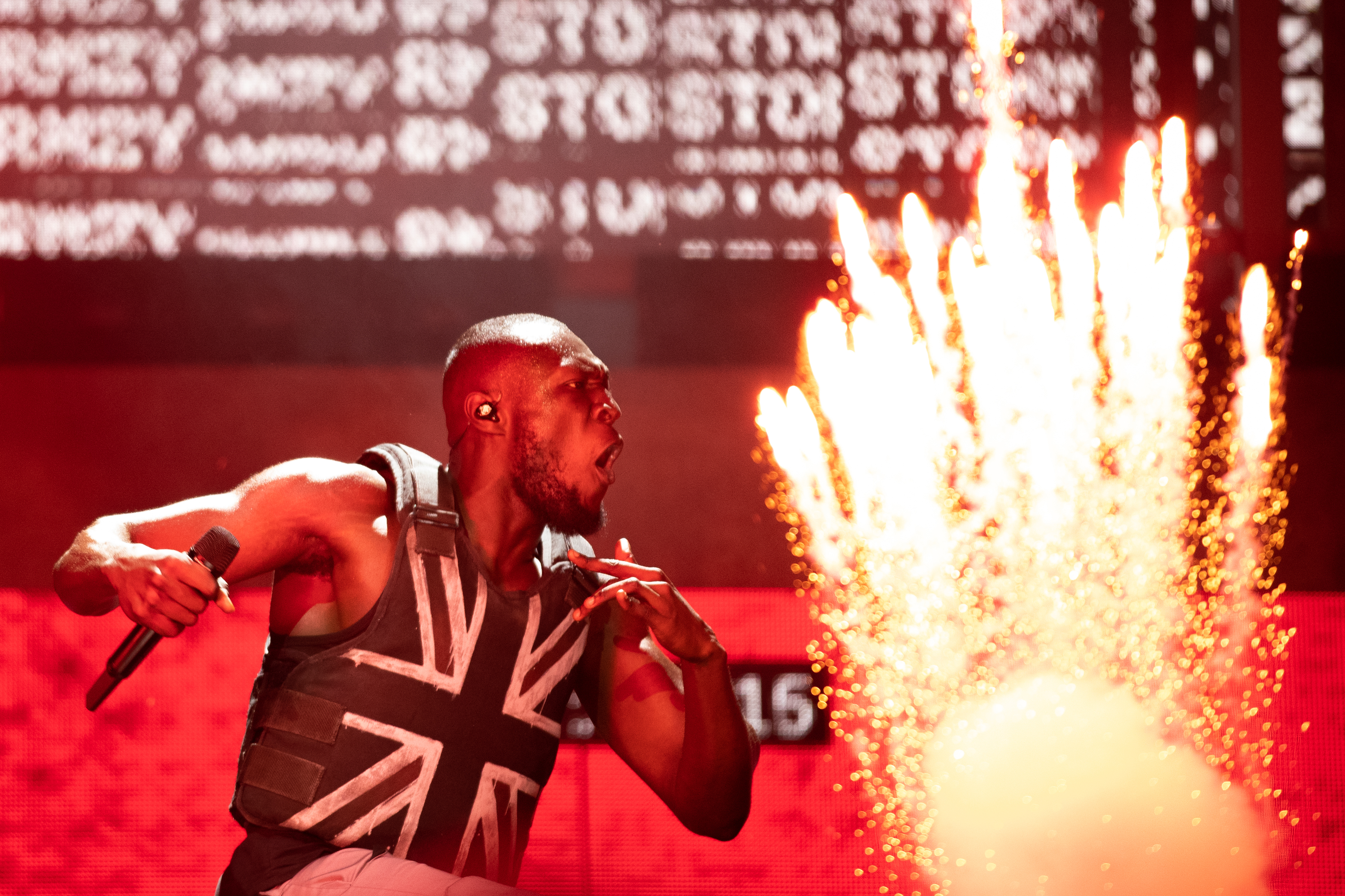 Stormzy performing on the Pyramid Stage during the Glastonbury Festival at Worthy Farm in Pilton, Somerset.