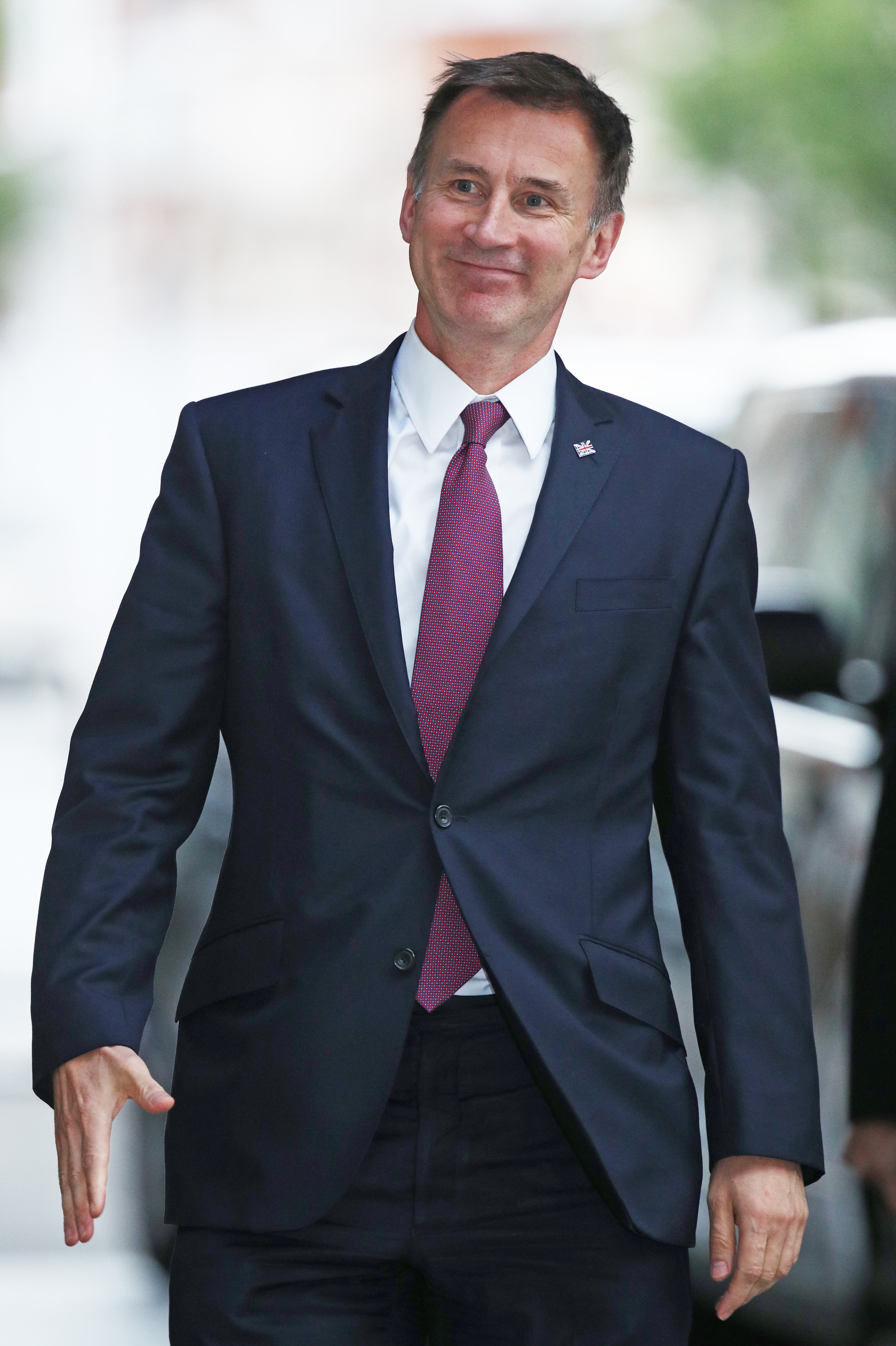 Foreign Secretary Jeremy Hunt arrives at BBC Broadcasting House in London for a Live TV debate with Tory leadership hopefuls.