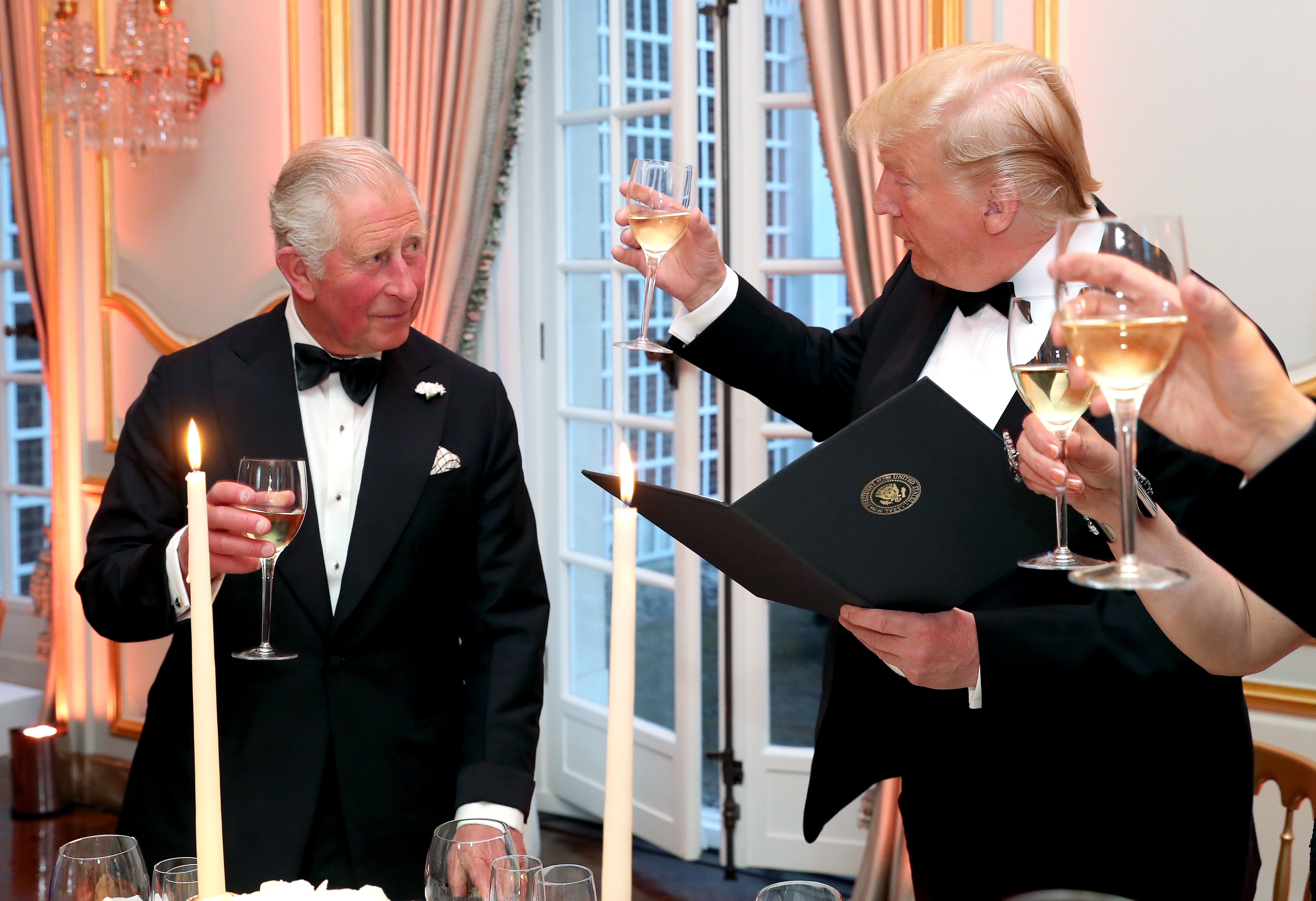 US President Donald Trump and the Prince of Wales during the toast at the Return Dinner at Winfield House, the residence of the Ambassador of the United States of America to the UK, in Regent's Park, London, as part of his state visit to the UK.