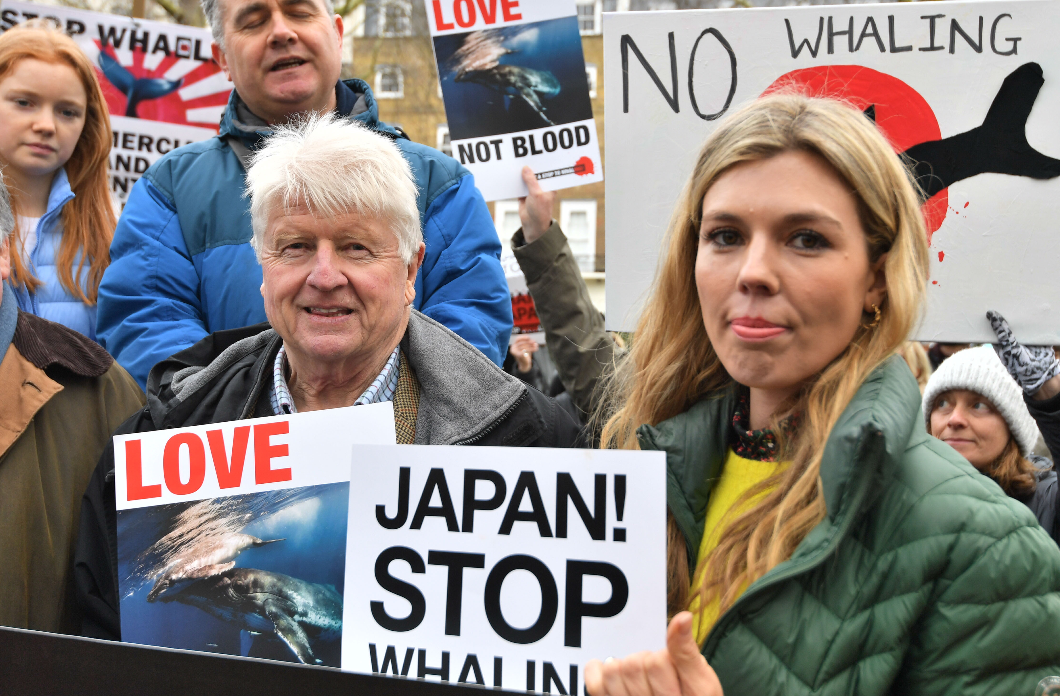 Stanley Johnson and Carrie Symonds at an anti-whaling protest outside the Japanese Embassy in central London.