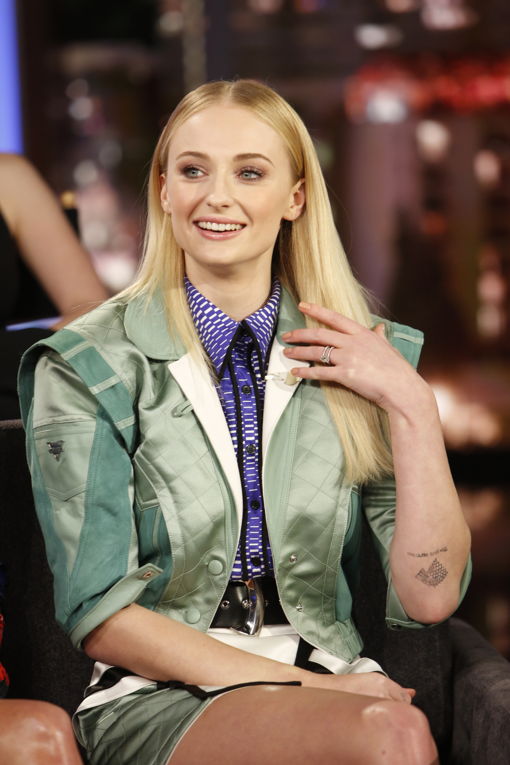 """JIMMY KIMMEL LIVE! - """"Jimmy Kimmel Live!"""" airs every weeknight at 11:35 p.m. EDT and features a diverse lineup of guests that include celebrities, athletes, musical acts, comedians and human interest subjects, along with comedy bits and a house band. The guests for Tuesday, June 4, included Sophie Turner, James McAvoy, Jennifer Lawrence, Michael Fassbender, Jessica Chastain, Nicholas Hoult, Tye Sheridan (""""Dark Phoenix""""), Unified World Heavyweight Champion Boxer Andy Ruiz Jr., and musical guest Aloe Blacc. (Randy Holmes via Getty Images) SOPHIE TURNER"""