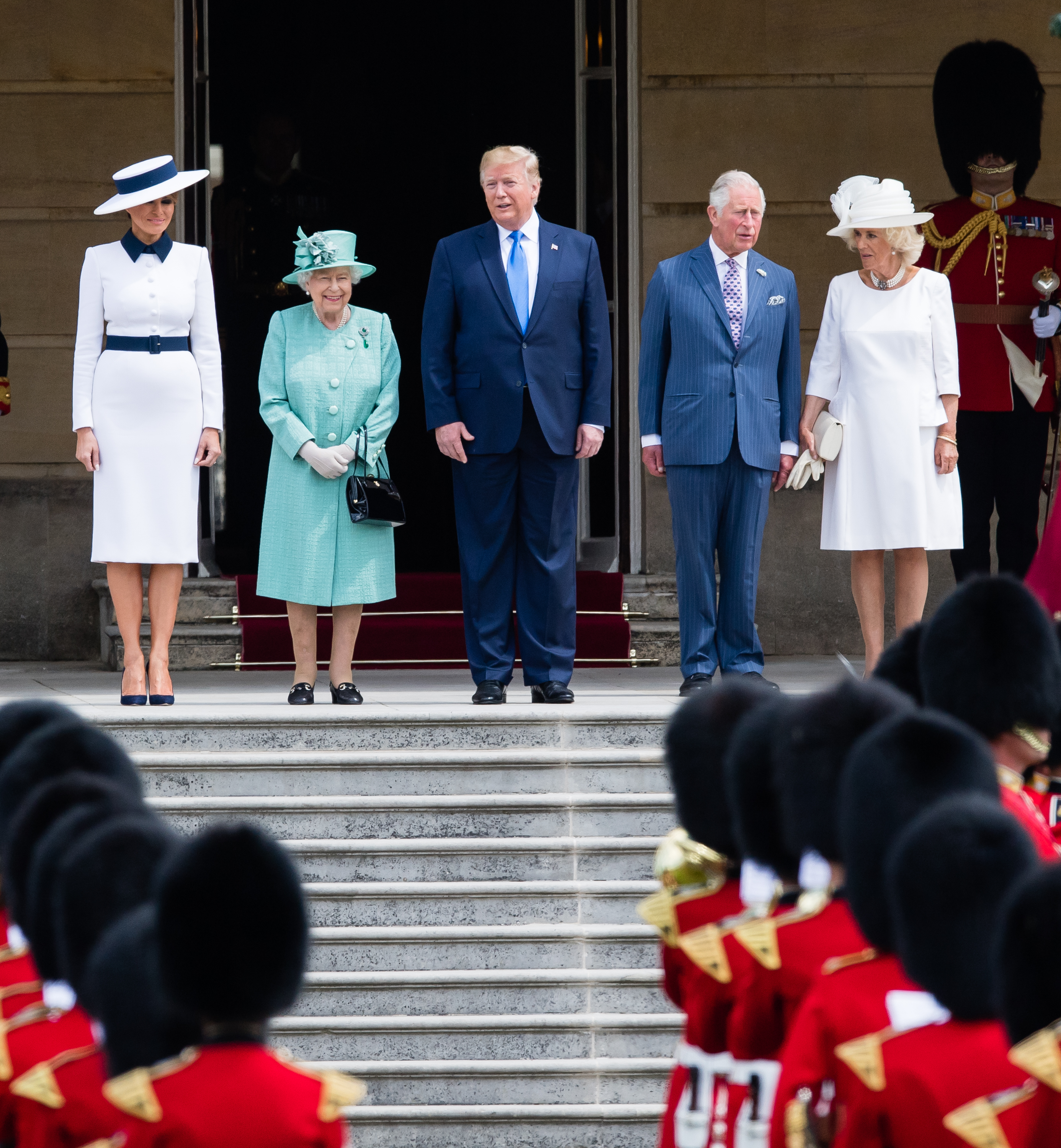 LONDON, ENGLAND - JUNE 03:  Queen Elizabeth II (second left) officially welcomes US President Donald Trump (C) and First Lady Melania Trump (L) with Prince Charles, Prince of Wales and Camilla, Duchess of Cornwall (R) at a Ceremonial Welcome at Buckingham Palace on June 03, 2019 in London, England. (Photo by Samir Hussein/Samir Hussein/WireImage)