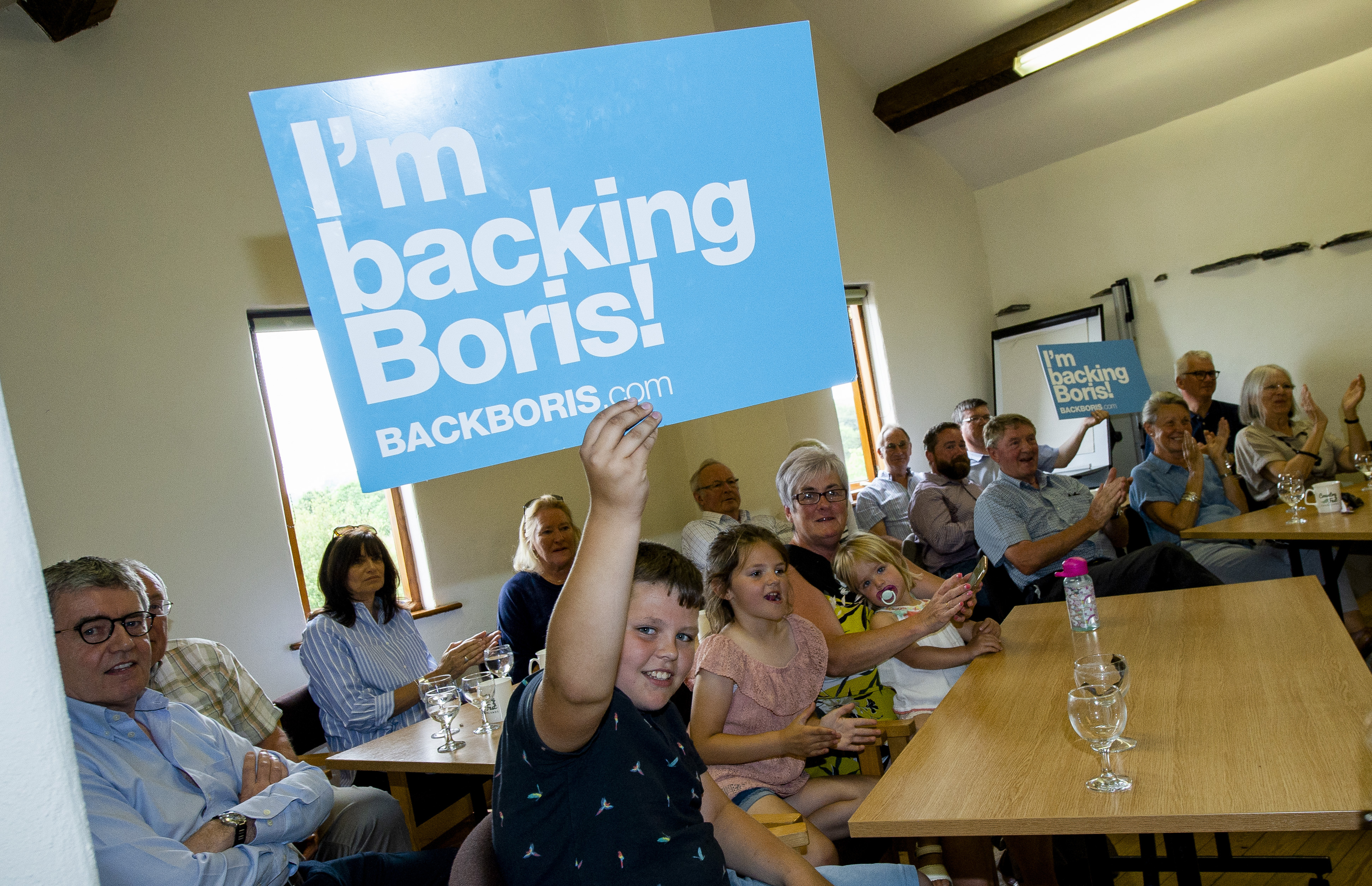 Supporters during Conservative party leadership contender Boris Johnson's leadership hustings in Crooklands in Cumbria.
