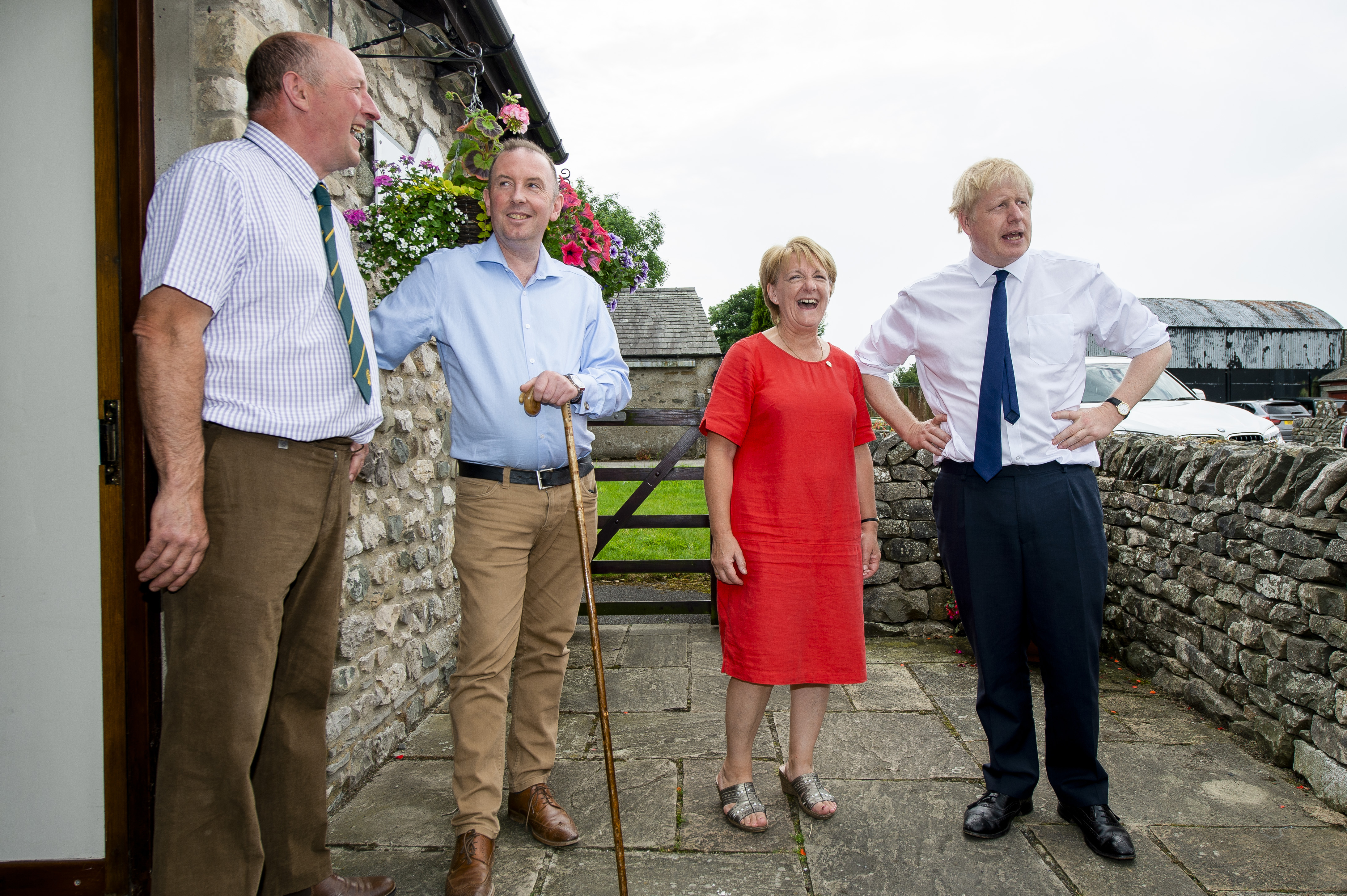 Conservative party leadership contender Boris Johnson arrives for a Tory leadership hustings in Crooklands in Cumbria.
