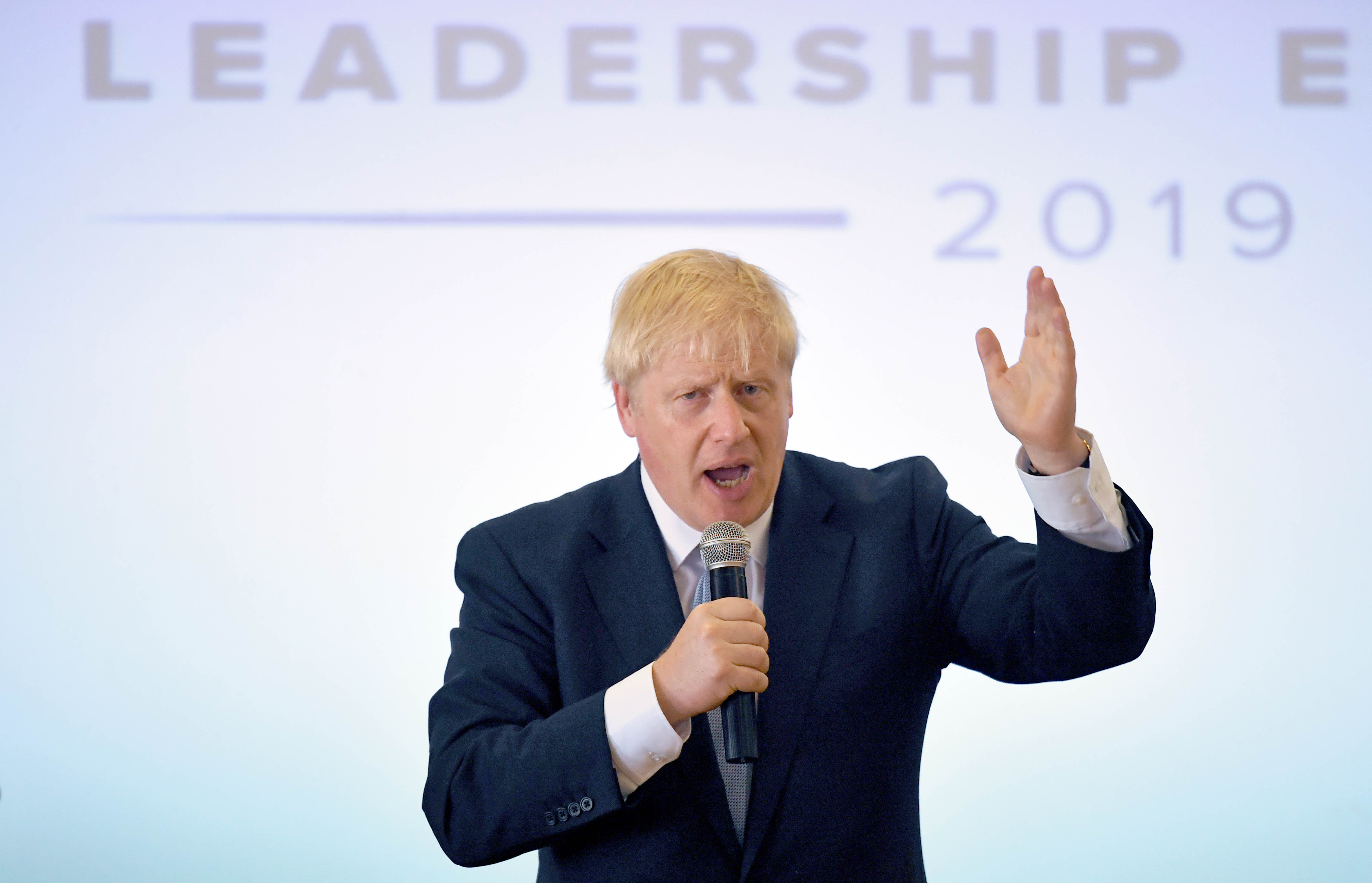 Conservative party leadership contender Boris Johnson addresses party members at the Oaktree Arena in Highbridge, Somerset.