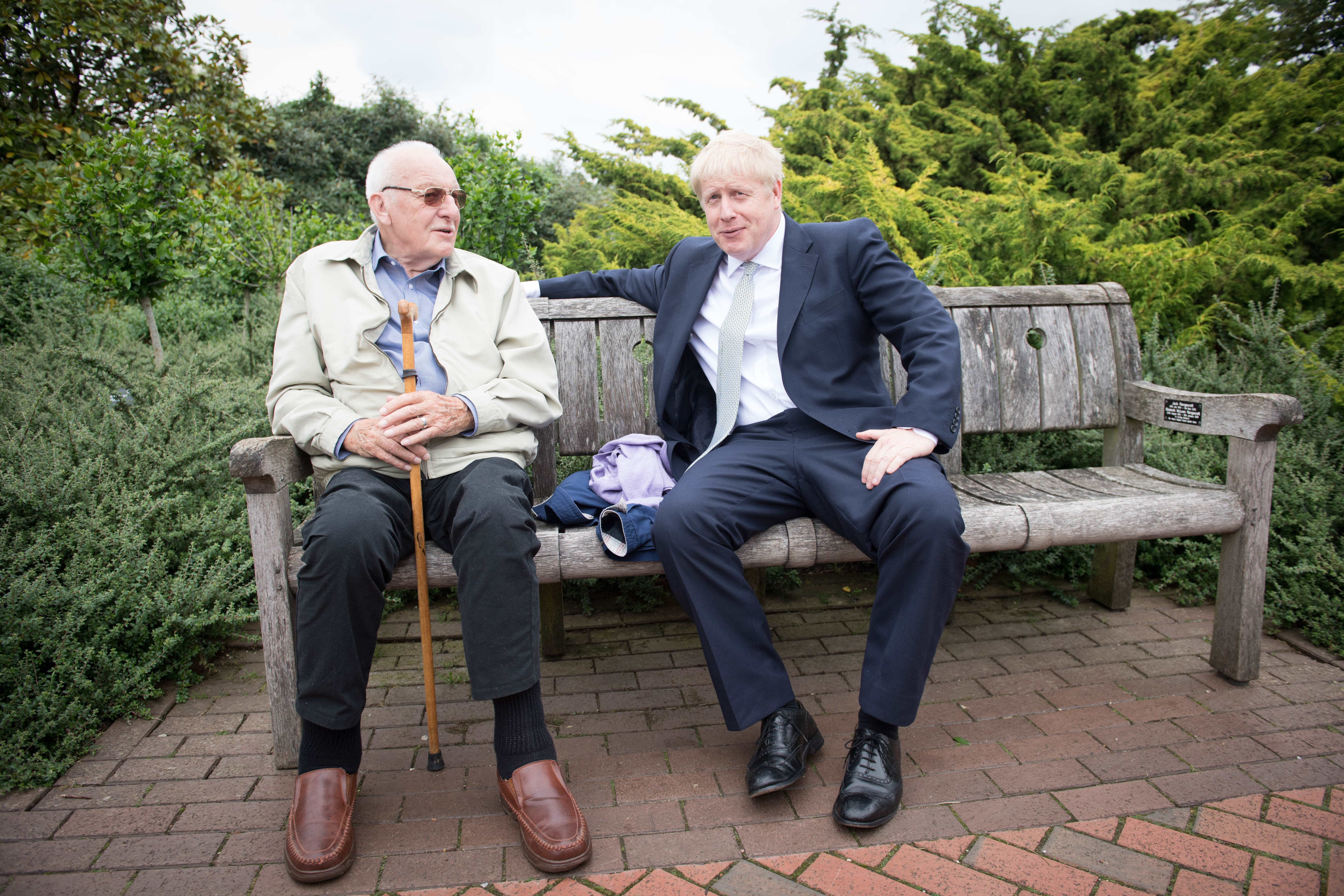 Conservative party leadership candidate Boris Johnson talks to a visitor as he tours the RHS (Royal Horticultural Society) garden at Wisley, in Surrey.