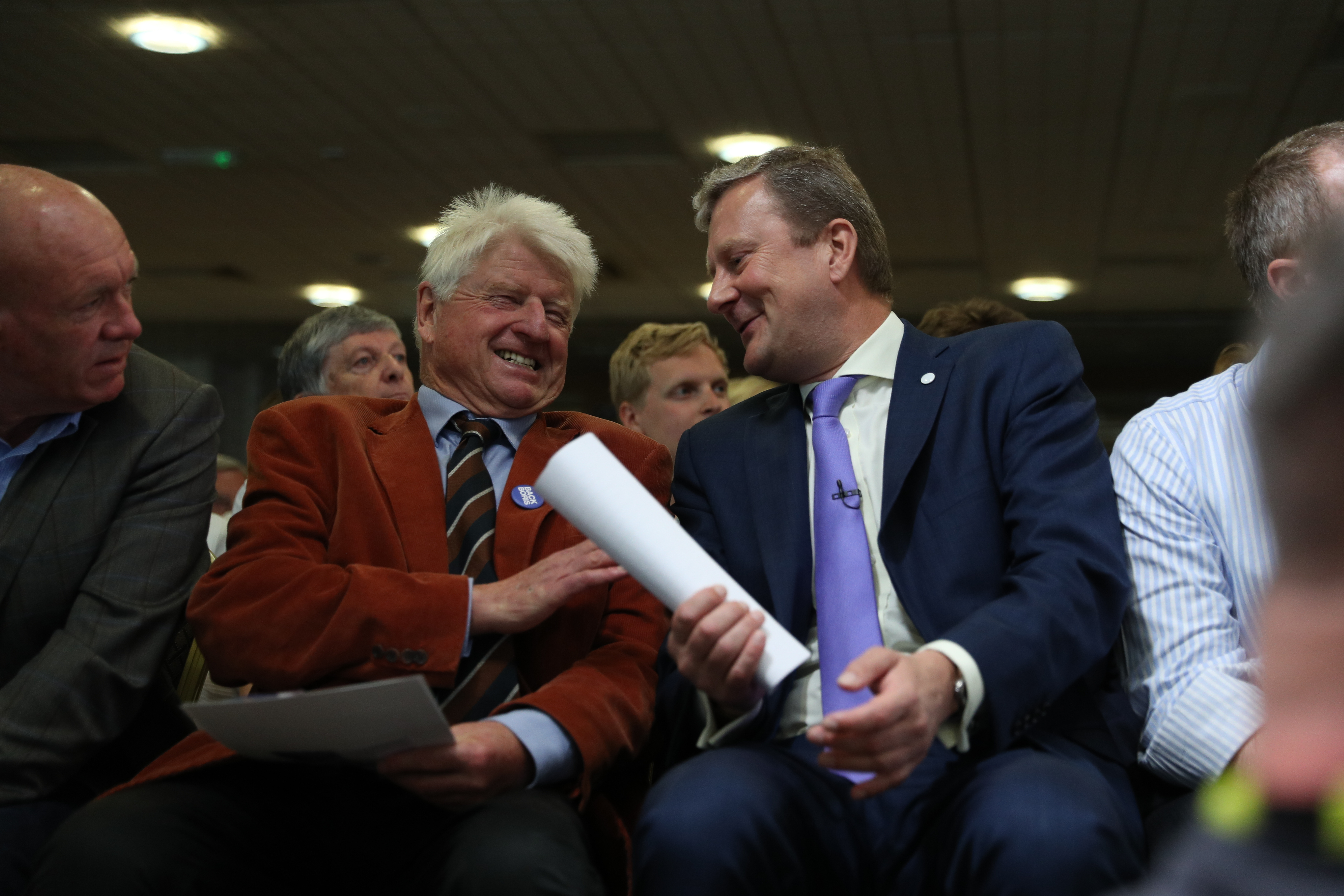 Conservative party leadership contender Boris Johnson's father Stanley Johnson (left) watching his son speak in Exeter during a Tory leadership hustings.