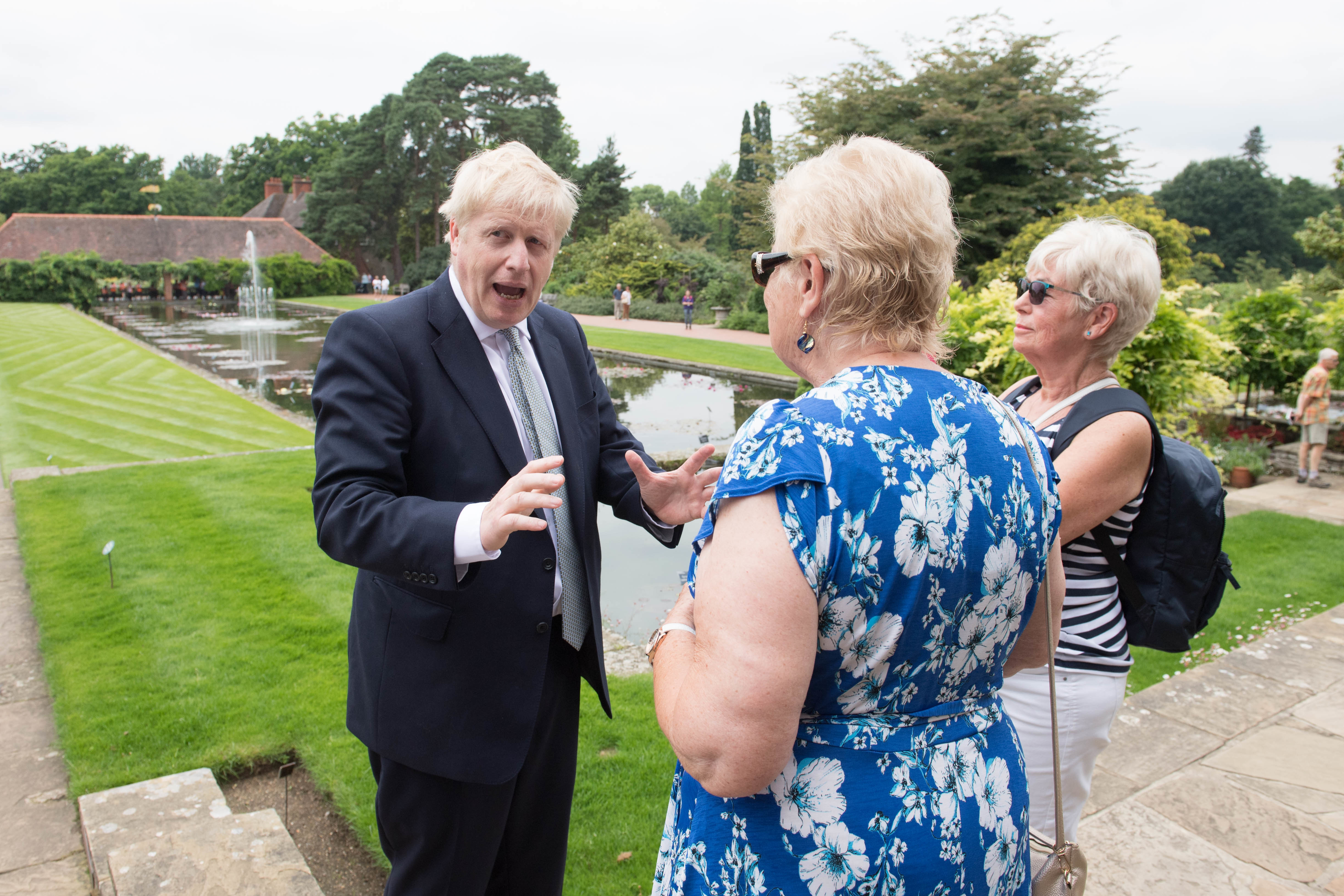 Conservative party leadership candidate Boris Johnson talks to visitors during a tour of the RHS (Royal Horticultural Society) garden at Wisley, in Surrey.