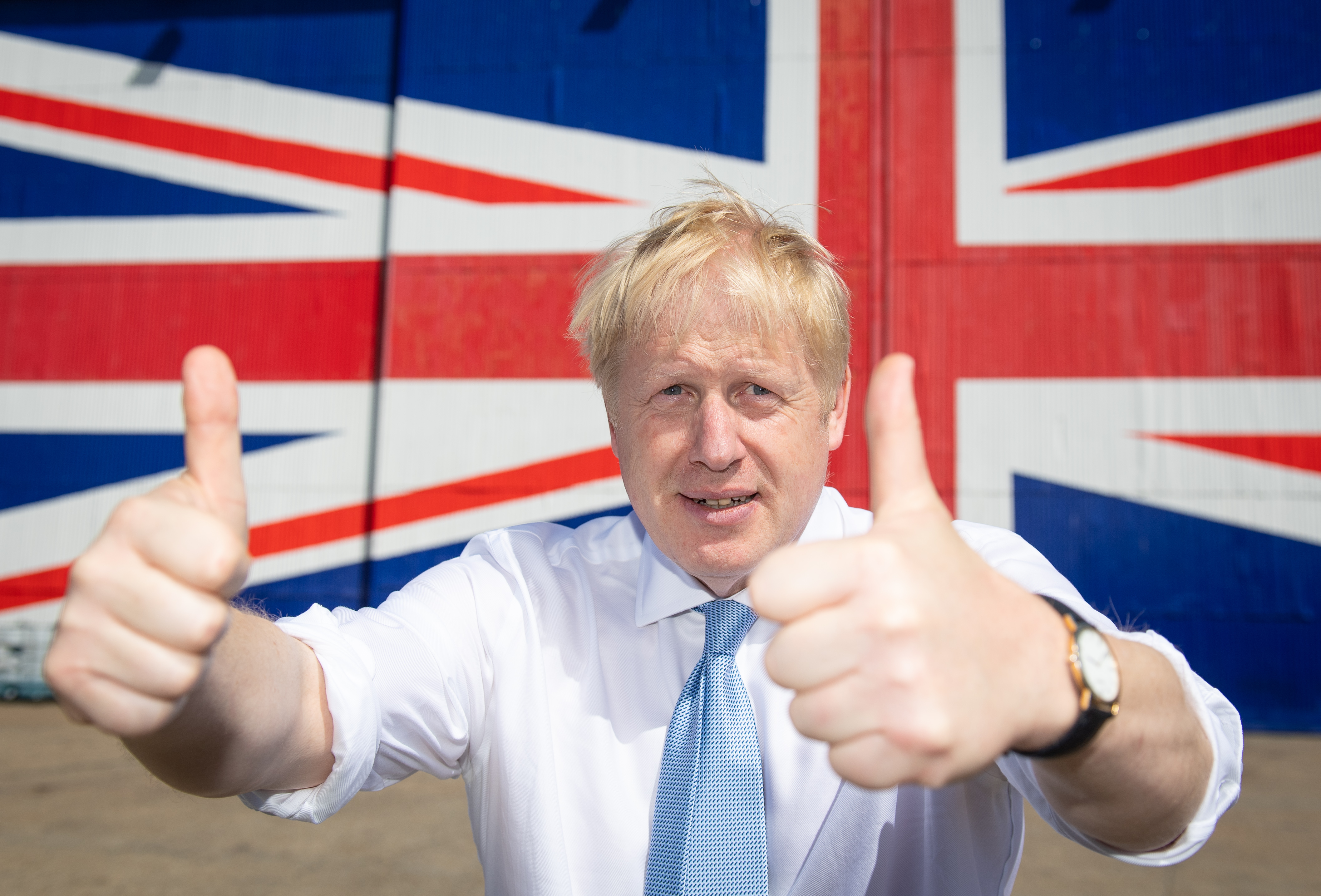 Conservative party leadership contender Boris Johnson poses for a photo at the Wight Shipyard Company at Venture Quay during a visit to the Isle of Wight.