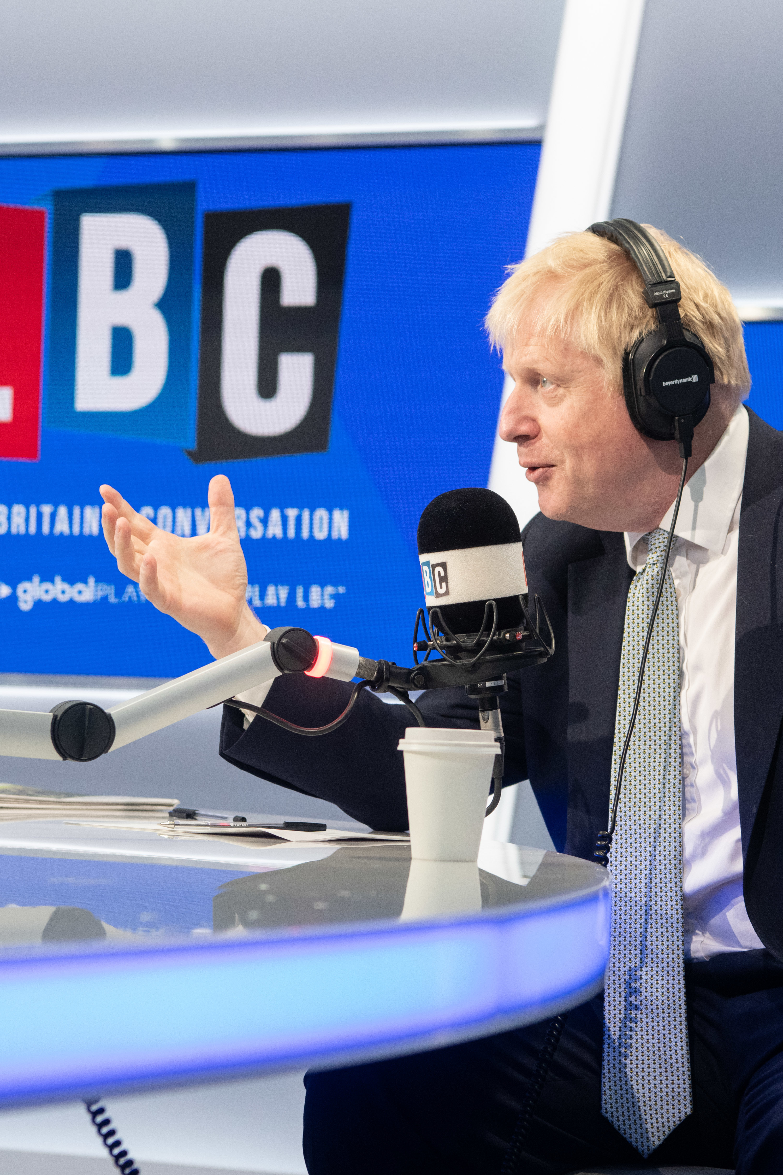 Boris Johnson pictured during a live phone in with LBC presenter Nick Ferrari, at their studios in central London. Picture date: Tuesday June 25, 2019. Photo credit should read: Matt Crossick/Empics
