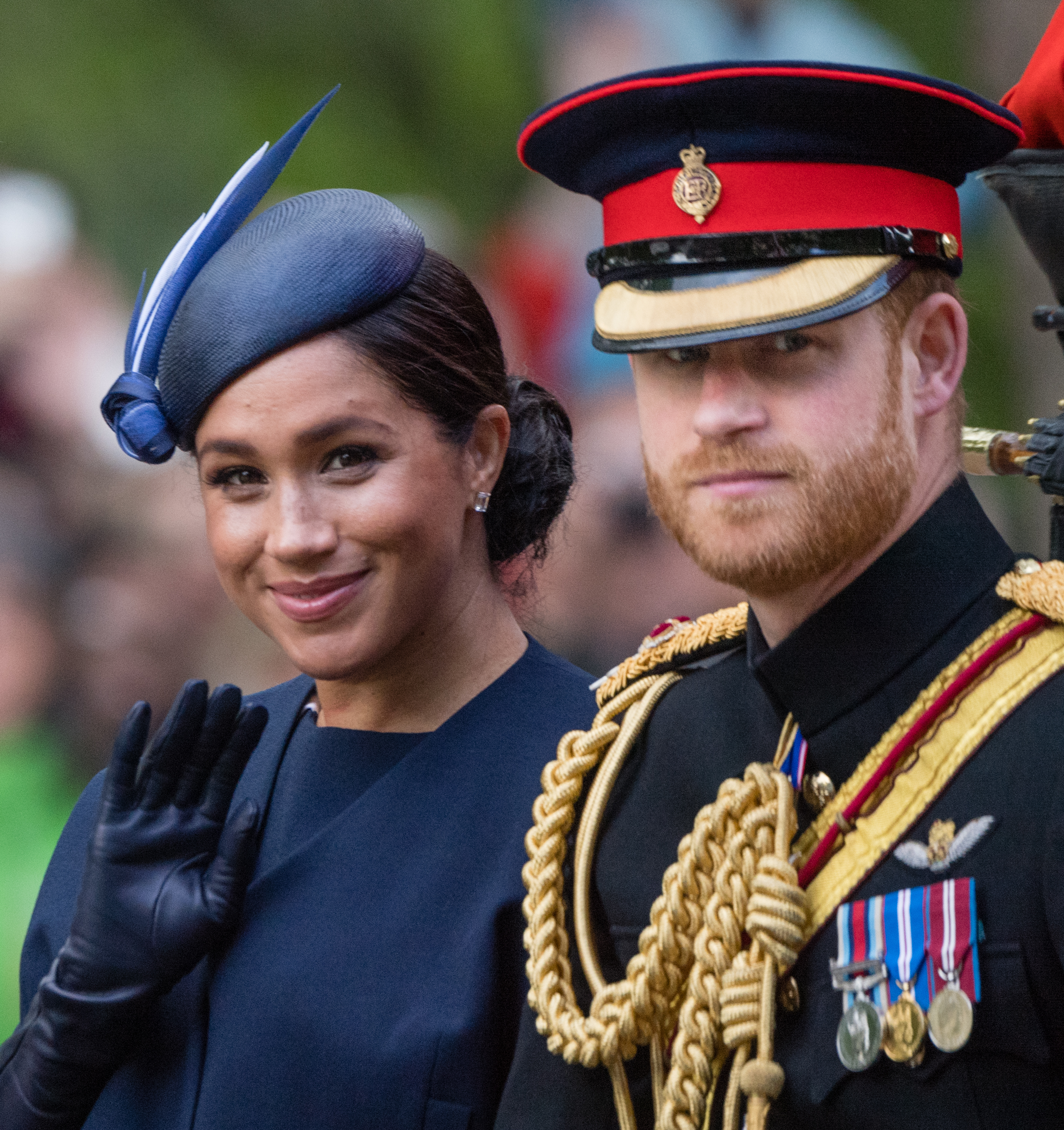 LONDON, ENGLAND - JUNE 08: Prince Harry, Duke of Sussex and Meghan, Duchess of Sussex ride by carriage down the Mall during Trooping The Colour, the Queen's annual birthday parade, on June 08, 2019 in London, England. (Photo by Samir Hussein/Samir Hussein/WireImage)