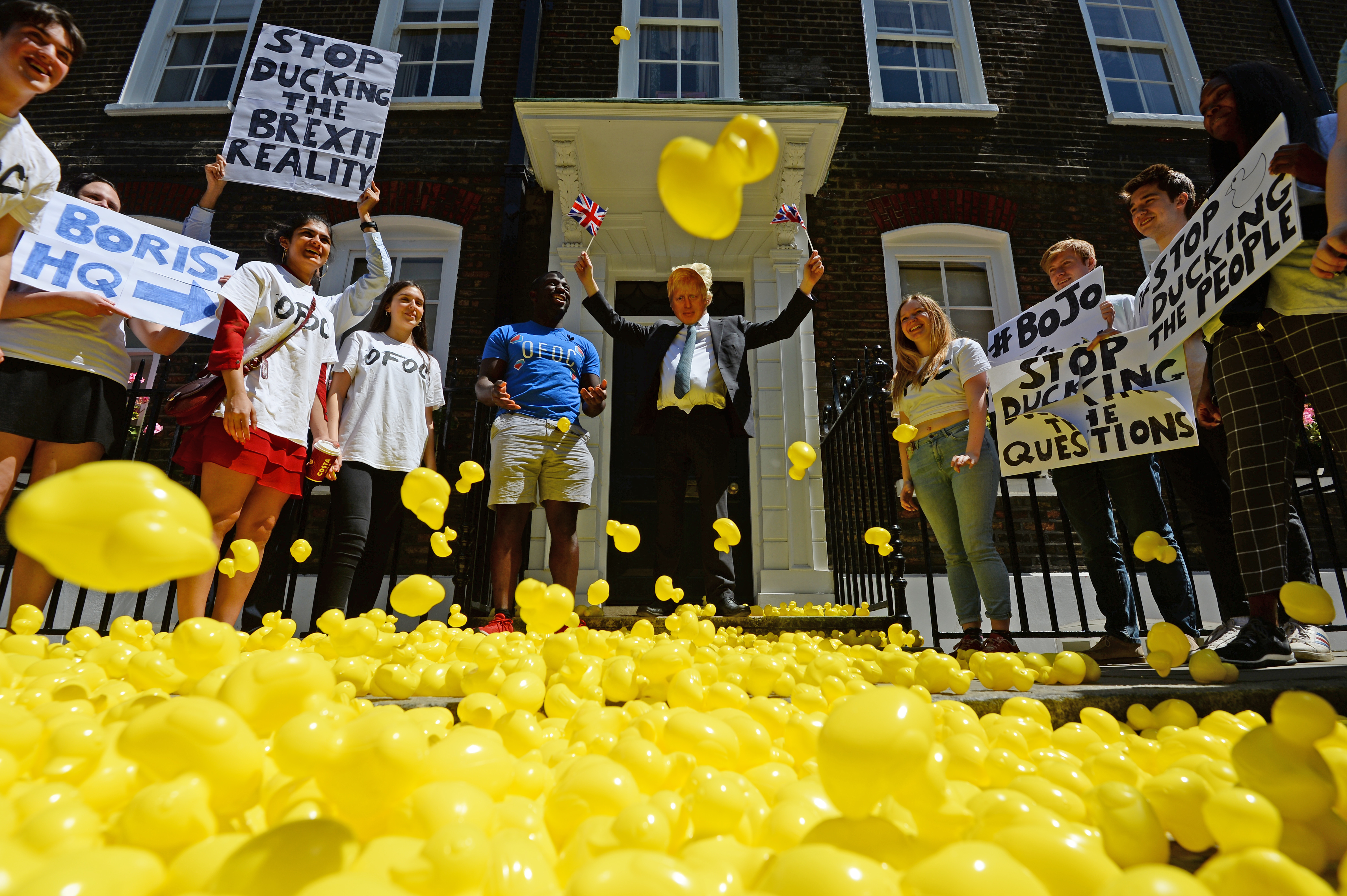Campaigners from Our Future, Our Choice (OFOC) flood Lord North Street in Westminster, London, where Boris Johnson's campaign headquarters is , with 2000 rubber ducks.