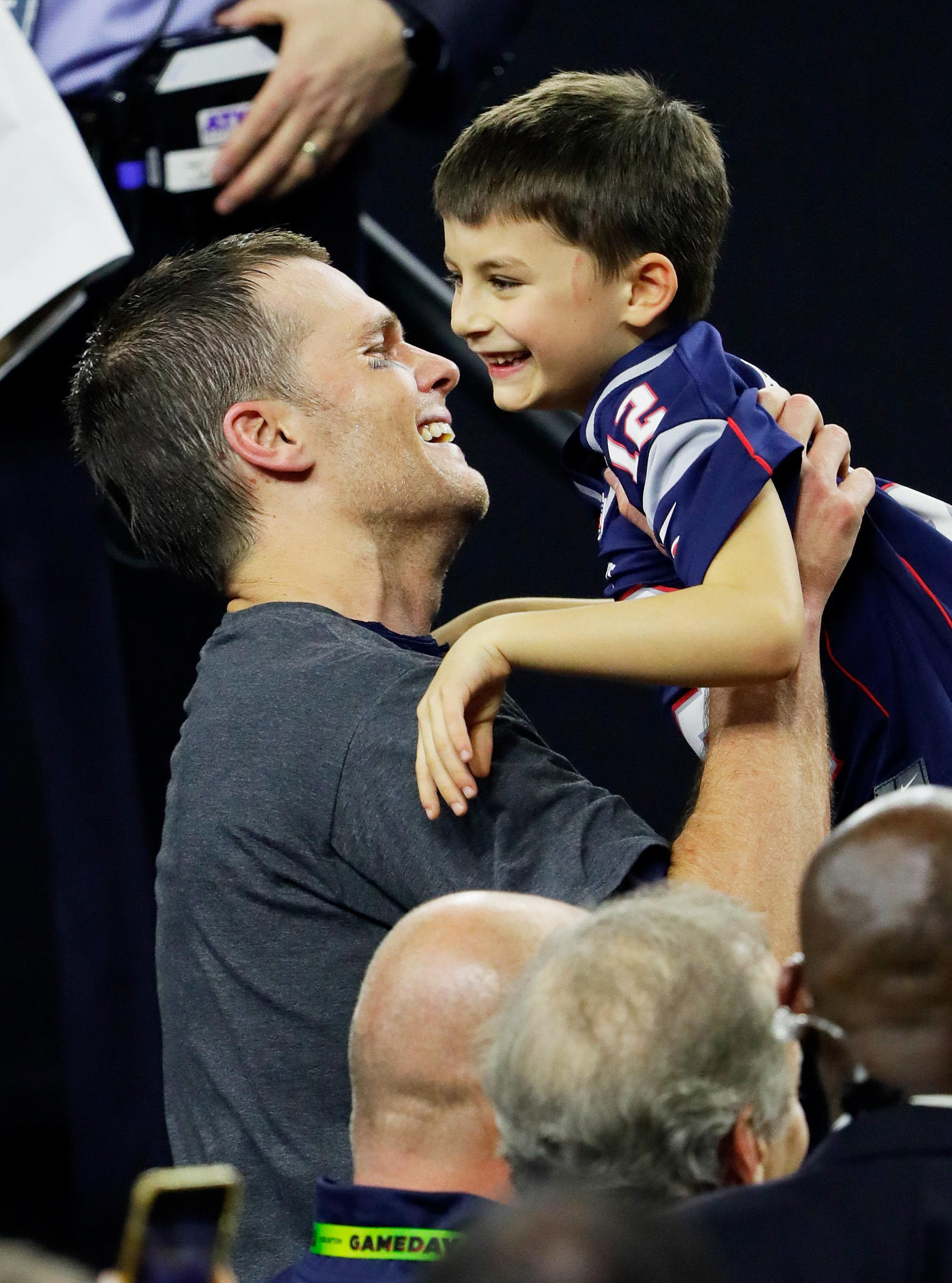 HOUSTON, TX - FEBRUARY 05:  Tom Brady #12 of the New England Patriots celebrates with his son after defeating the Atlanta Falcons 34-28 in overtime to win Super Bowl 51 at NRG Stadium on February 5, 2017 in Houston, Texas.  (Photo by Jamie Squire/Getty Images)