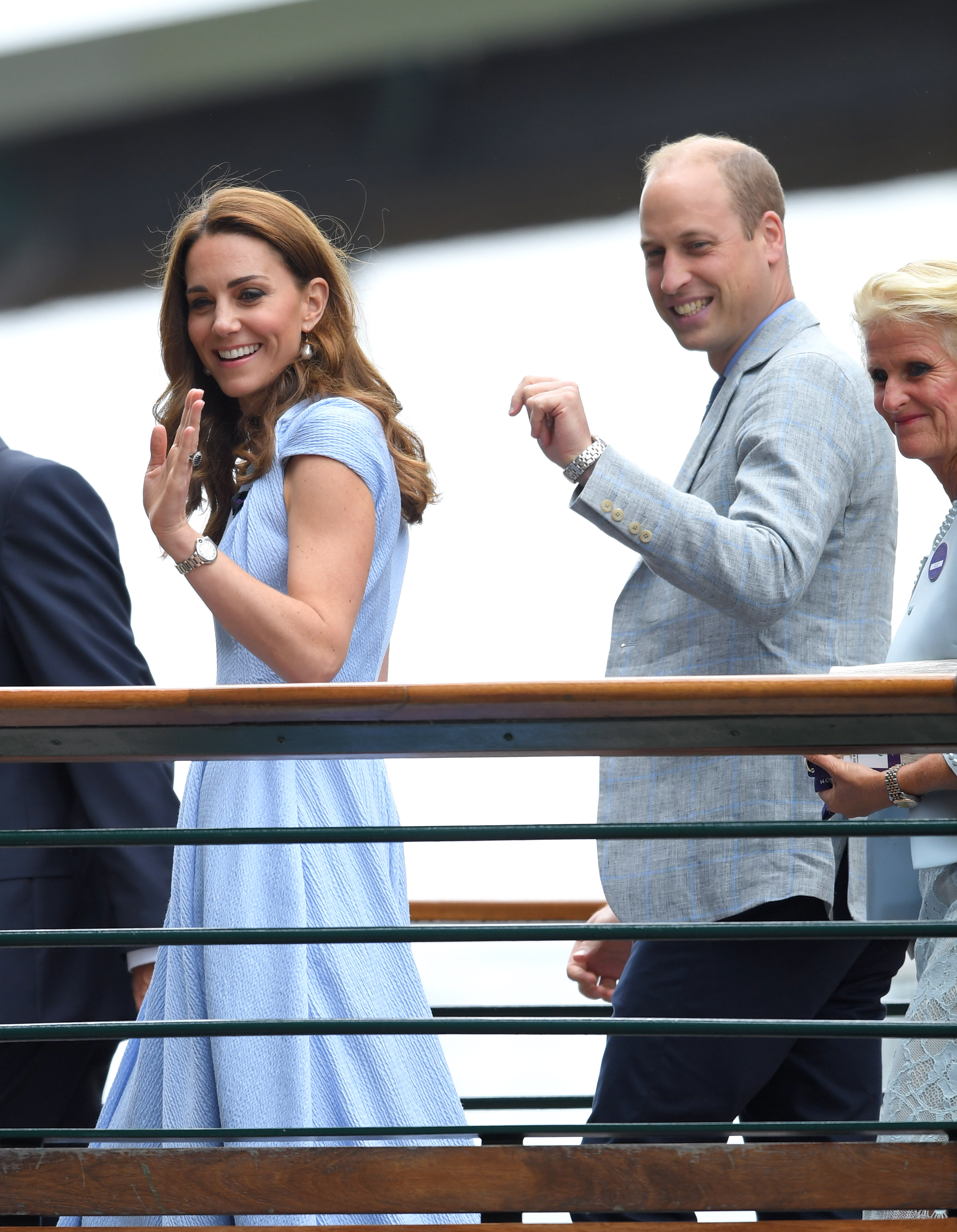 LONDON, ENGLAND - JULY 14: Catherine, Duchess of Cambridge and Prince William, Duke of Cambridge attend day thirteen of the Wimbledon Tennis Championships at All England Lawn Tennis and Croquet Club on July 14, 2019 in London, England. (Photo by Karwai Tang/Getty Images)
