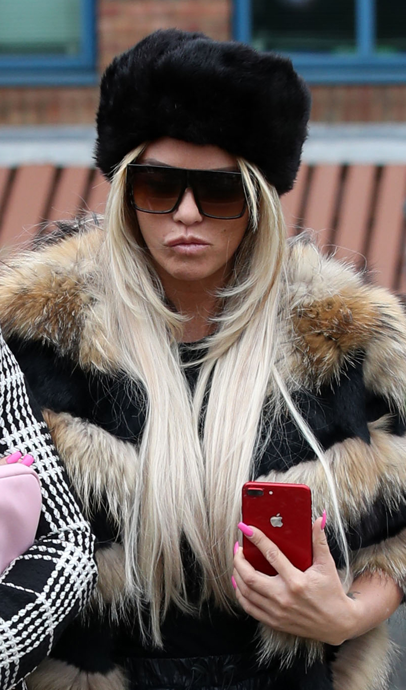 Katie Price arrives at Crawley Magistrates' Court where she faces two counts of using threatening, abusive, words or behaviour to cause harassment, alarm or distress.