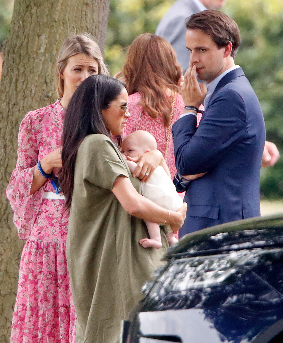 WOKINGHAM, UNITED KINGDOM - JULY 10: (EMBARGOED FOR PUBLICATION IN UK NEWSPAPERS UNTIL 24 HOURS AFTER CREATE DATE AND TIME) Meghan, Duchess of Sussex, Archie Harrison Mountbatten-Windsor, Anneke Gilkes and Charlie Gilkes attend the King Power Royal Charity Polo Match, in which Prince William, Duke of Cambridge and Prince Harry, Duke of Sussex were competing for the Khun Vichai Srivaddhanaprabha Memorial Polo Trophy at Billingbear Polo Club on July 10, 2019 in Wokingham, England. (Photo by Max Mumby/Indigo/Getty Images)