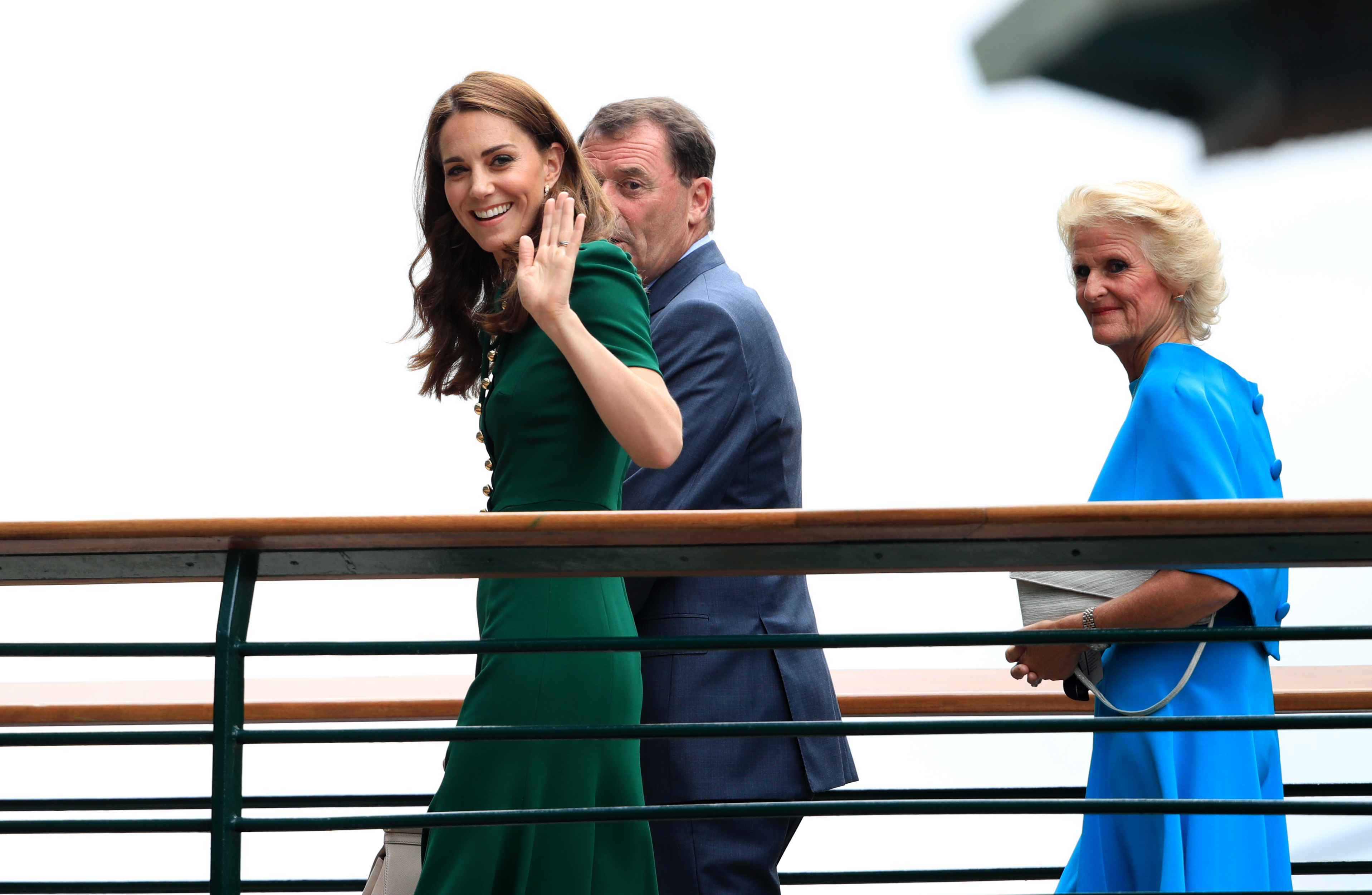The Duchess of Cambridge arrives on day twelve of the Wimbledon Championships at the All England Lawn Tennis and Croquet Club, Wimbledon.