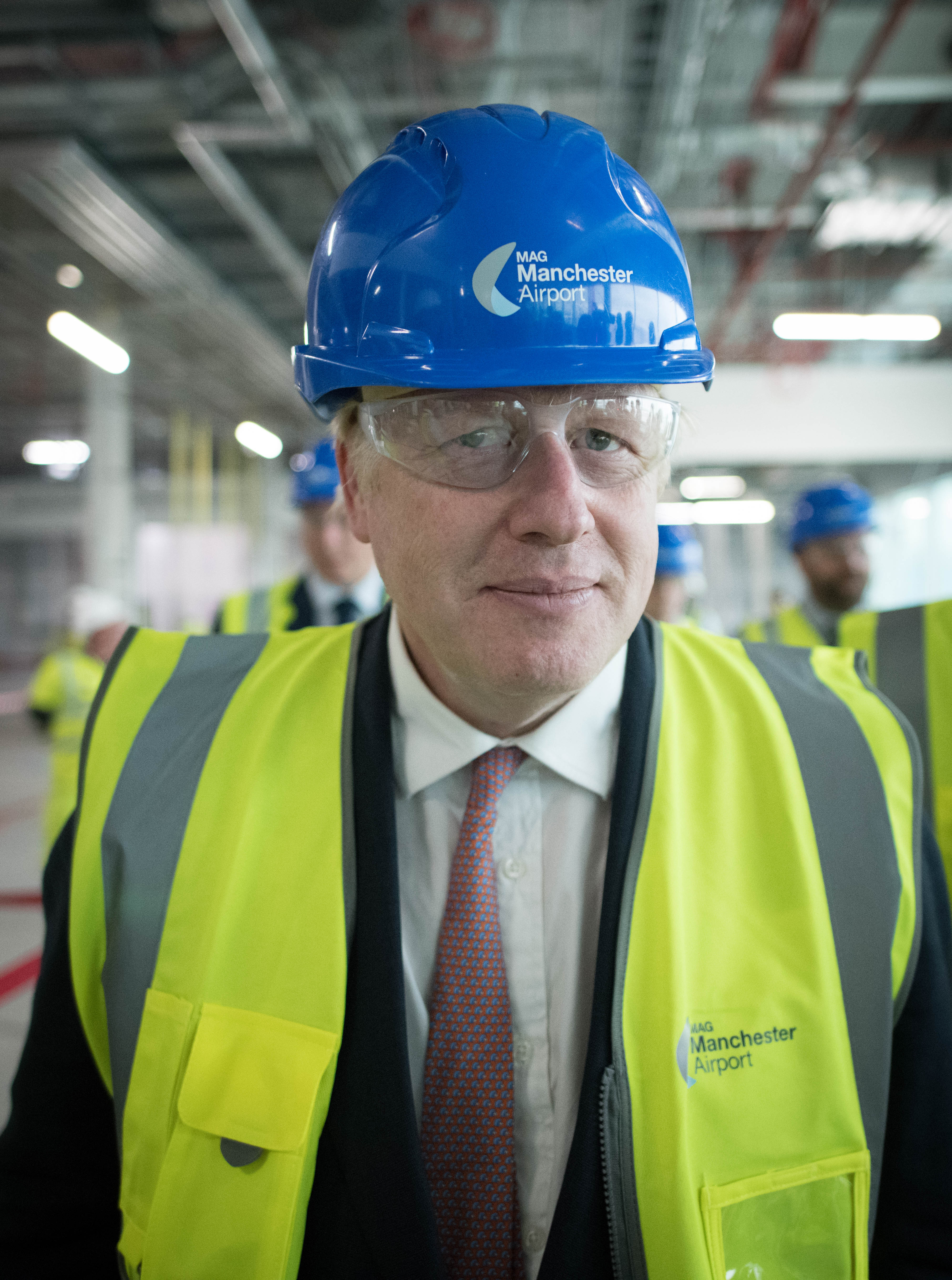 Conservative Party leadership candidate Boris Johnson during a visit to construction work for the expansion of Terminal Two at Manchester Airport.