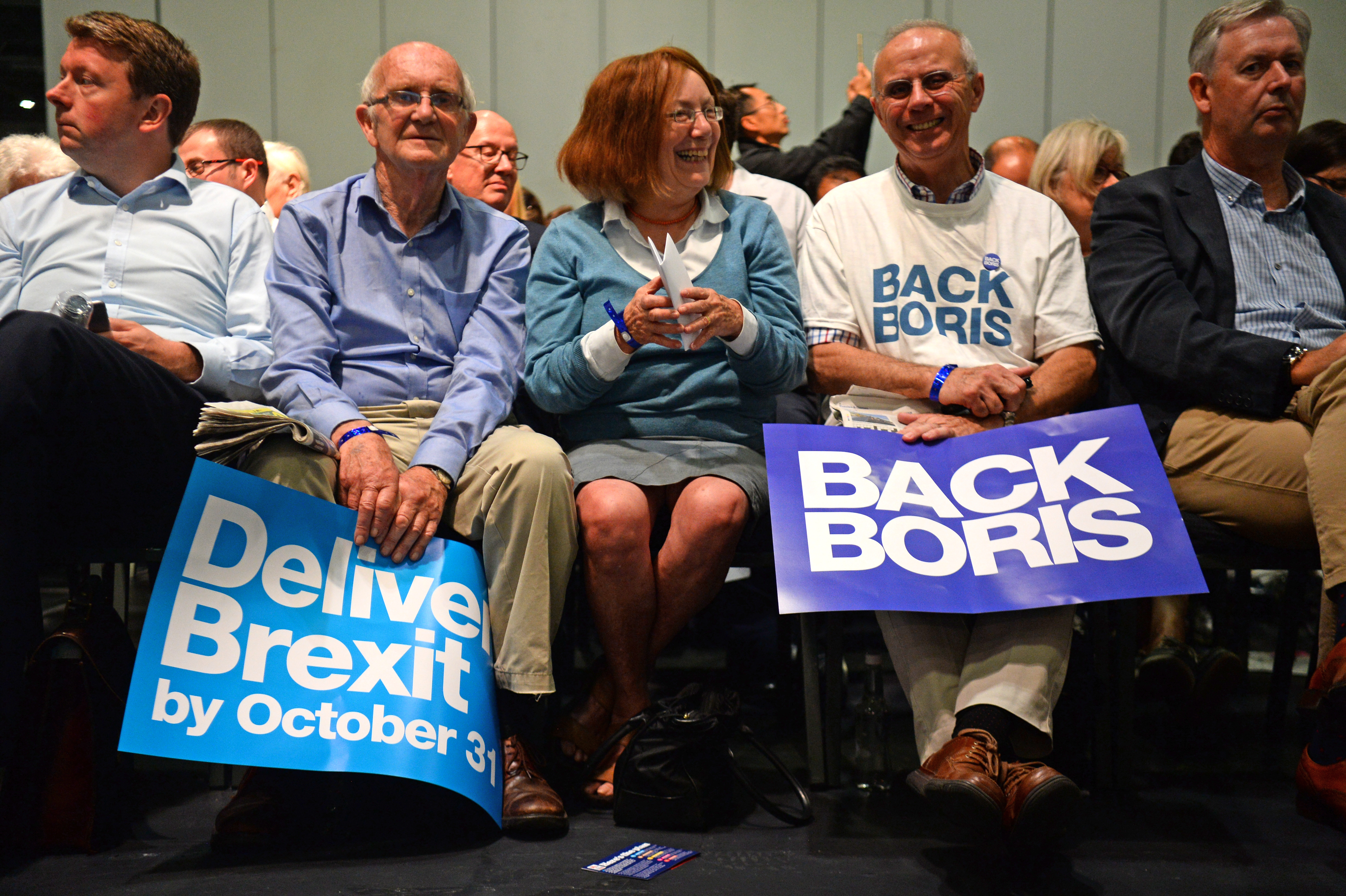 Supporters of Conservative leadership candidate Boris Johnson before a Tory leadership hustings in London.