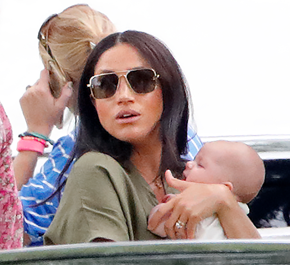 WOKINGHAM, UNITED KINGDOM - JULY 10: (EMBARGOED FOR PUBLICATION IN UK NEWSPAPERS UNTIL 24 HOURS AFTER CREATE DATE AND TIME) Meghan, Duchess of Sussex and Archie Harrison Mountbatten-Windsor attend the King Power Royal Charity Polo Match, in which Prince William, Duke of Cambridge and Prince Harry, Duke of Sussex were competing for the Khun Vichai Srivaddhanaprabha Memorial Polo Trophy at Billingbear Polo Club on July 10, 2019 in Wokingham, England. (Photo by Max Mumby/Indigo/Getty Images)