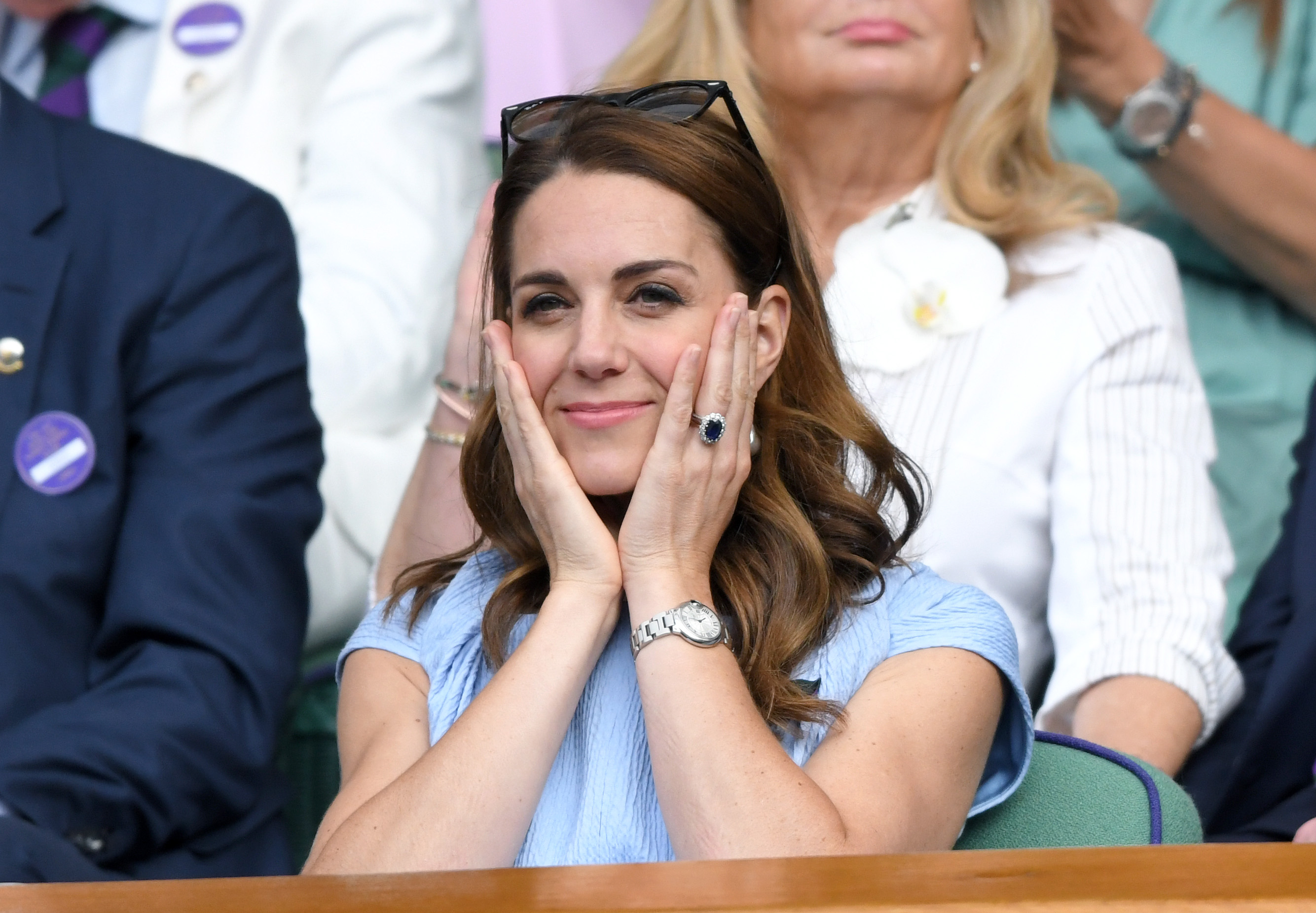 LONDON, ENGLAND - JULY 14: Catherine, Duchess of Cambridge in the Royal Box on Centre court during Men's Finals Day of the Wimbledon Tennis Championships at All England Lawn Tennis and Croquet Club on July 14, 2019 in London, England. (Photo by Karwai Tang/Getty Images)