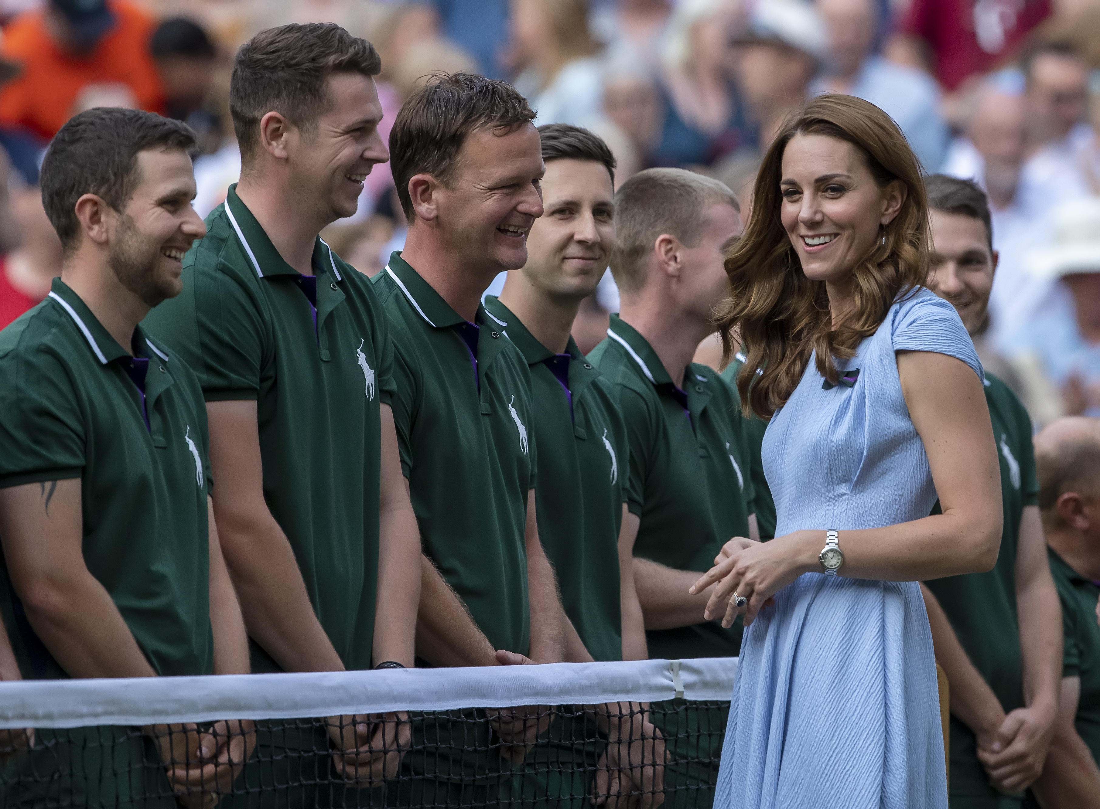 14th July 2019, The All England Lawn Tennis and Croquet Club, Wimbledon, England, Wimbledon Tennis Tournament, Day 13, mens singles final; Catherine Duchess of Cambridge speaks with the Wimbledon groundsmen (photo by Shaun Brooks/Action Plus via Getty Images)